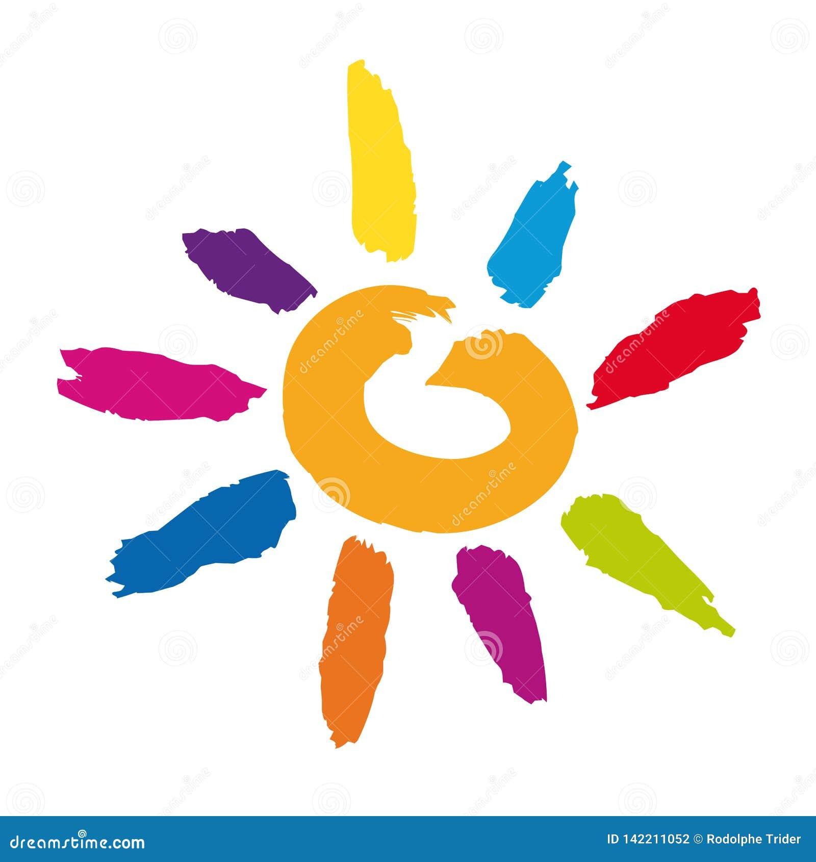 Ένας πολύχρωμος ήλιος υπό μορφή εικονιδίου για να συμβολίσει την ευτυχία