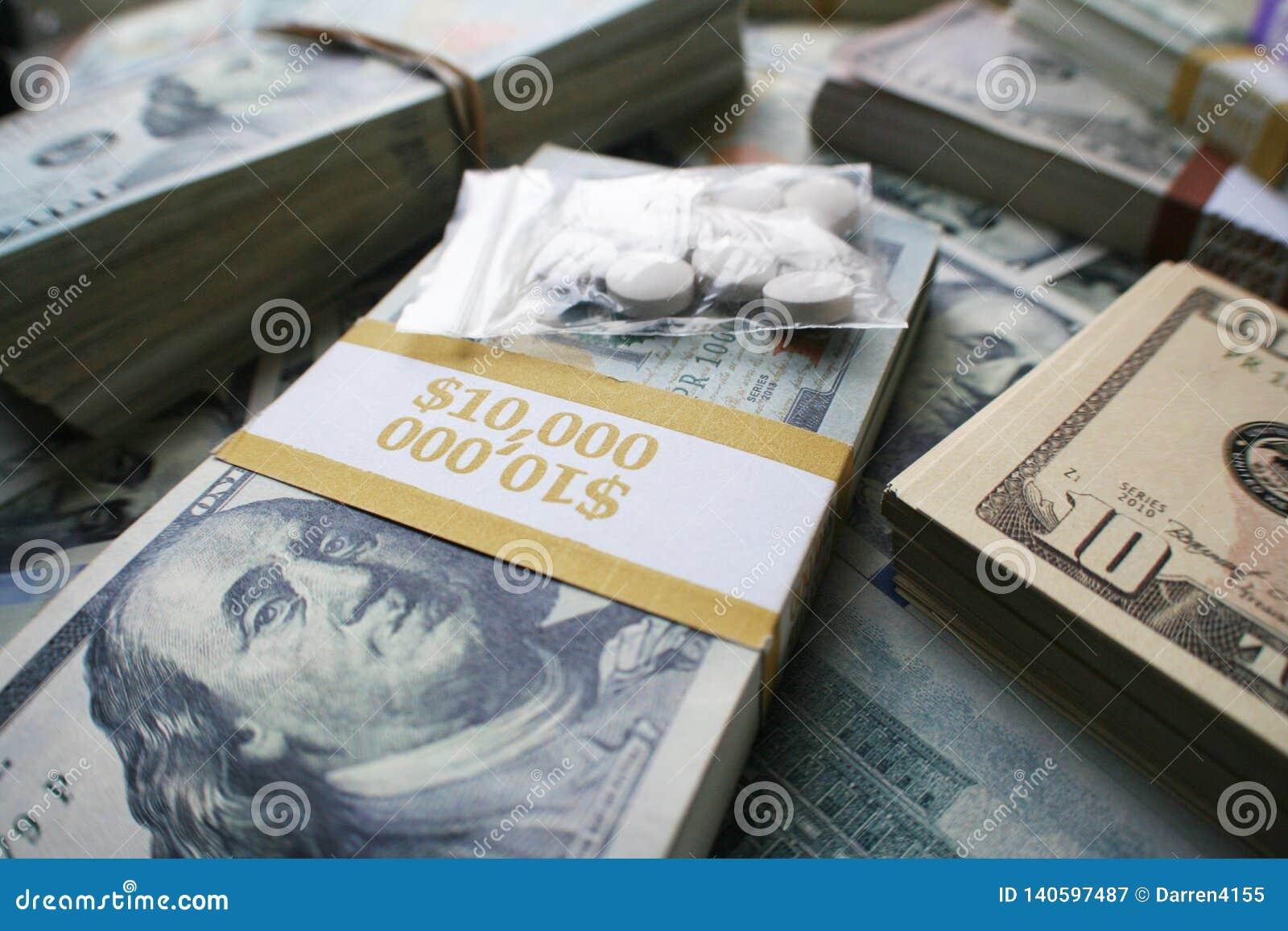 Έννοια έθνους χαπιών που παρουσιάζει στις οπιούχες ουσίες συνταγών μεγάλα κέρδη
