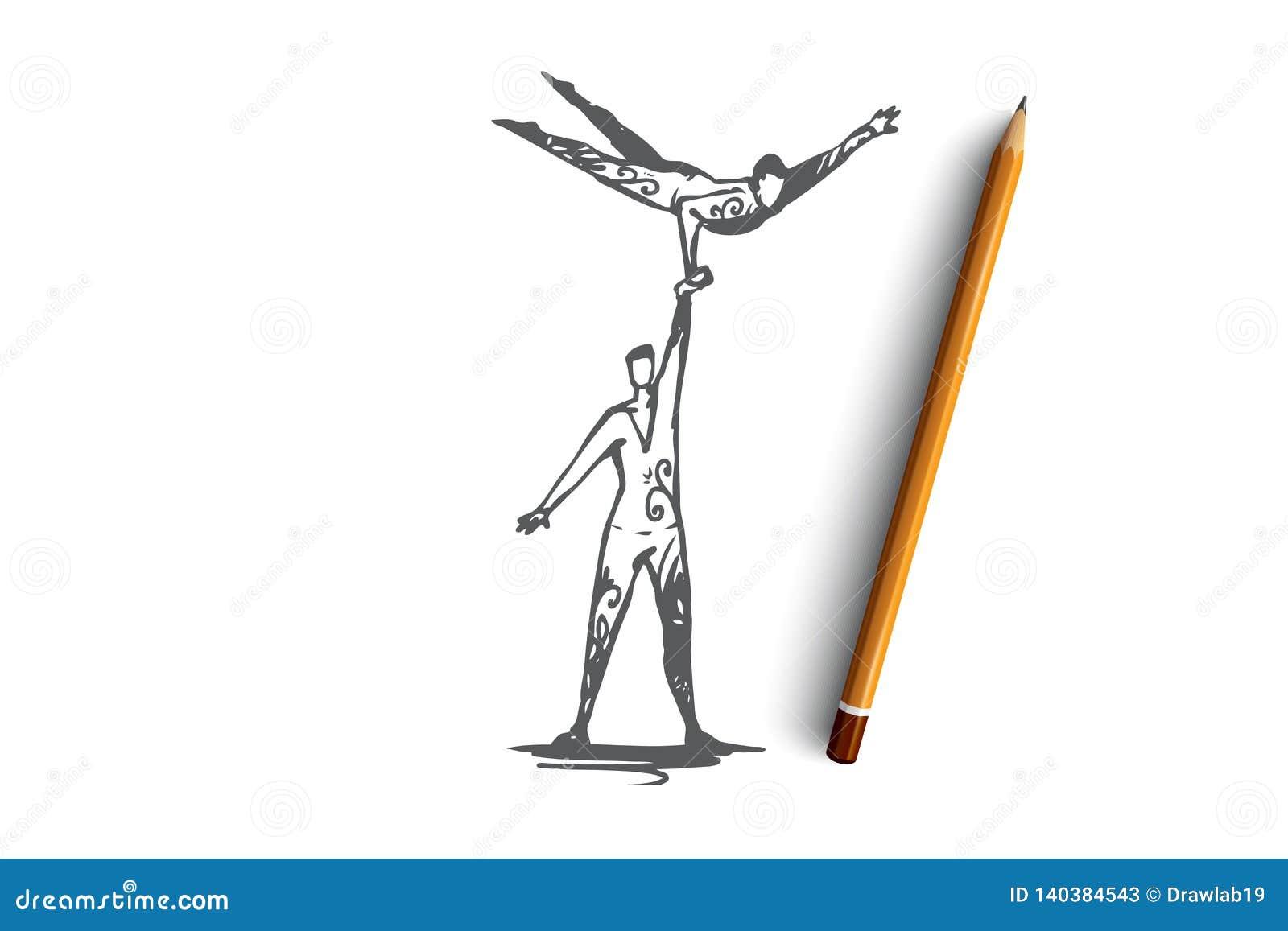 Ακροβατικός, τσίρκο, ισορροπία, απόδοση, έννοια συνεργασίας Συρμένο χέρι απομονωμένο διάνυσμα