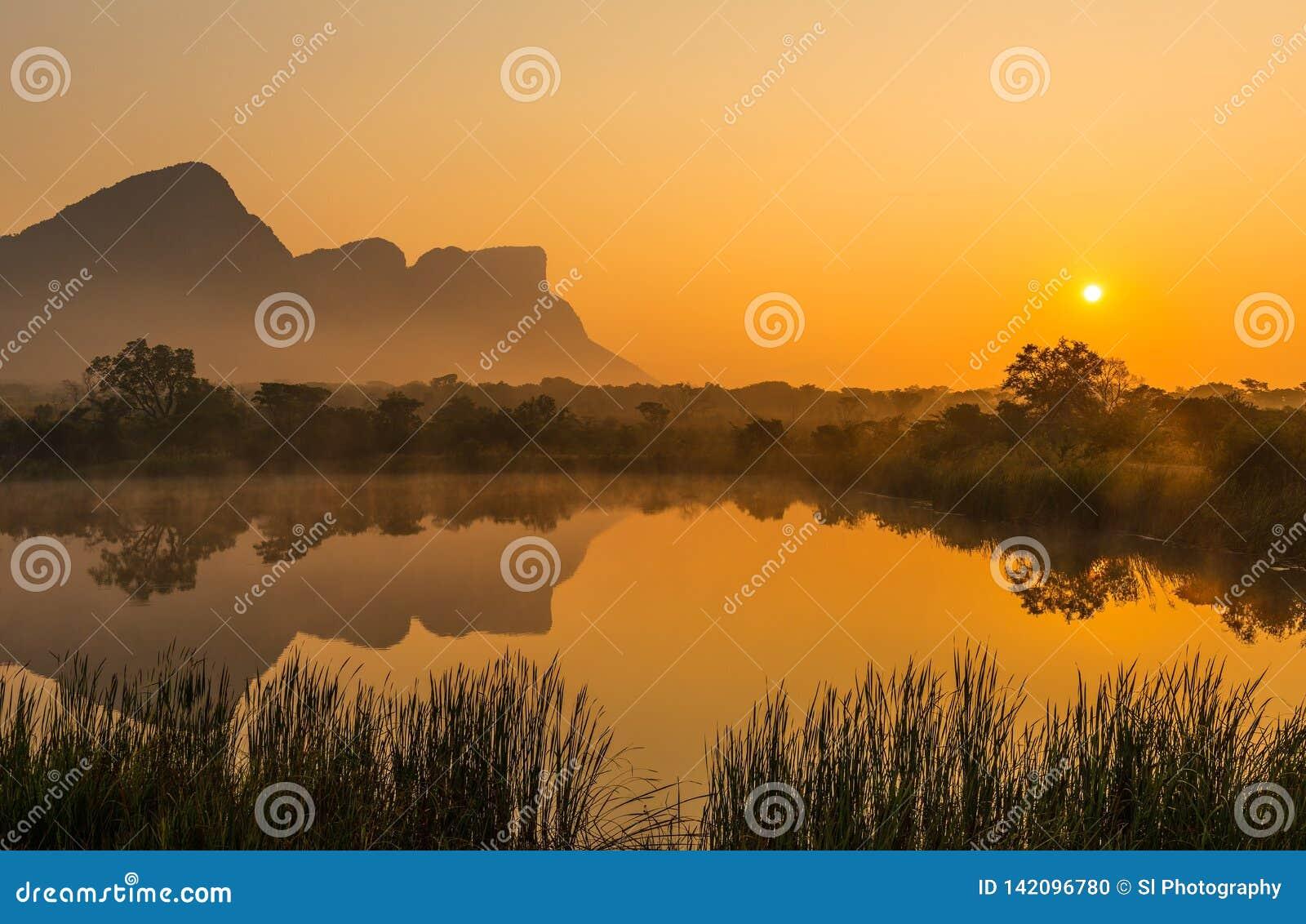Ανατολή στην επιφύλαξη παιχνιδιού σαφάρι Entabeni, Νότια Αφρική
