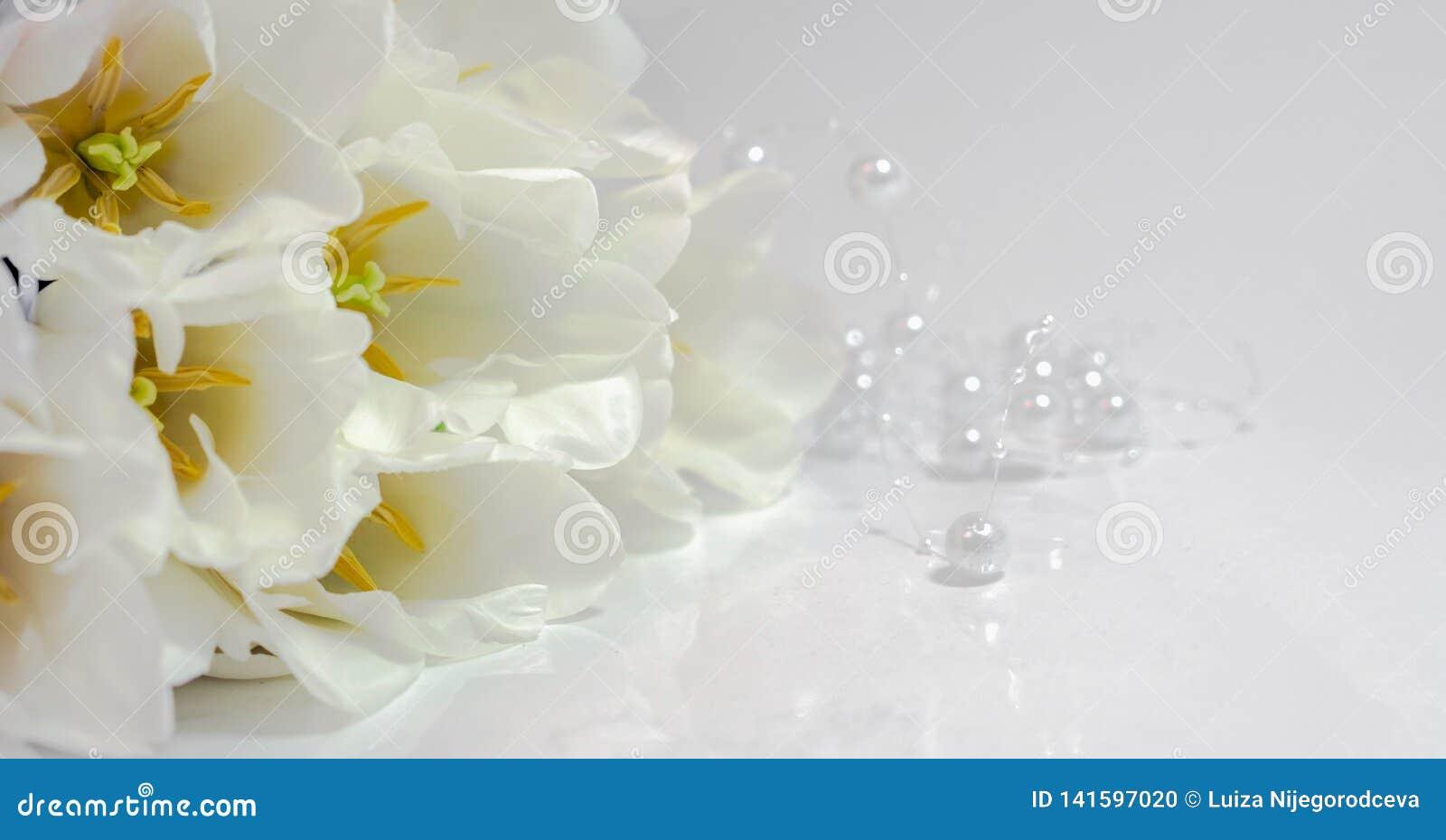 Ανθοδέσμη των άσπρων τουλιπών με τις άσπρες χάντρες σε έναν άσπρο πίνακα