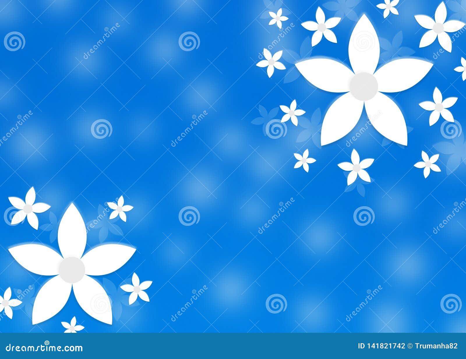 Αφηρημένα άσπρα λουλούδια στο μουτζουρωμένο μπλε υπόβαθρο