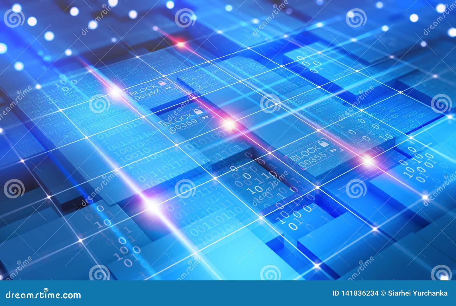 Αφηρημένη έννοια κυβερνοχώρου Δίκτυο Blockchain Τεχνολογία Fintech