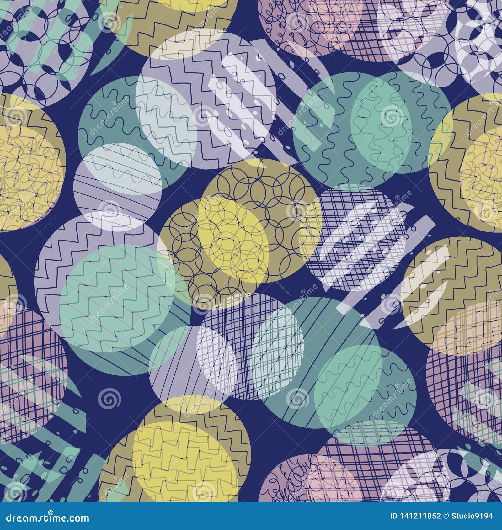 Αφηρημένο άνευ ραφής διανυσματικό σχέδιο κύκλων Βαλμένη σε στρώσεις διαφορετική αδιαφάνεια σημείων μπλε, ρόδινος, κιρκίρι, κίτριν