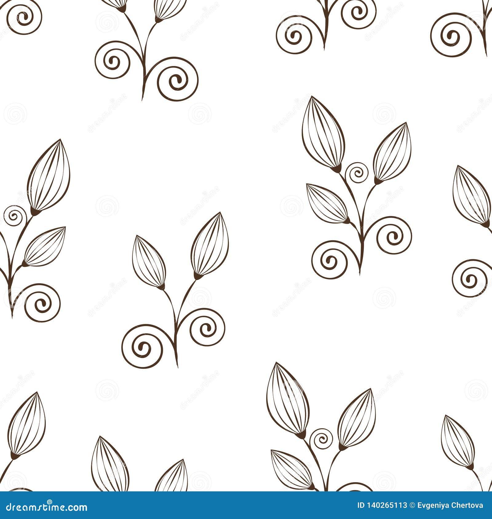 Αφηρημένο άνευ ραφής σχέδιο λουλουδιών, γραπτό σχέδιο χεριών περιλήψεων, γραμμική απεικόνιση, διανυσματικό μονοχρωματικό υπόβαθρο