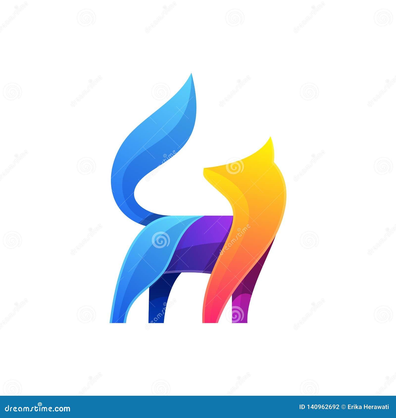 Αφηρημένο διανυσματικό πρότυπο απεικόνισης σχεδίων αλεπούδων ζωηρόχρωμο