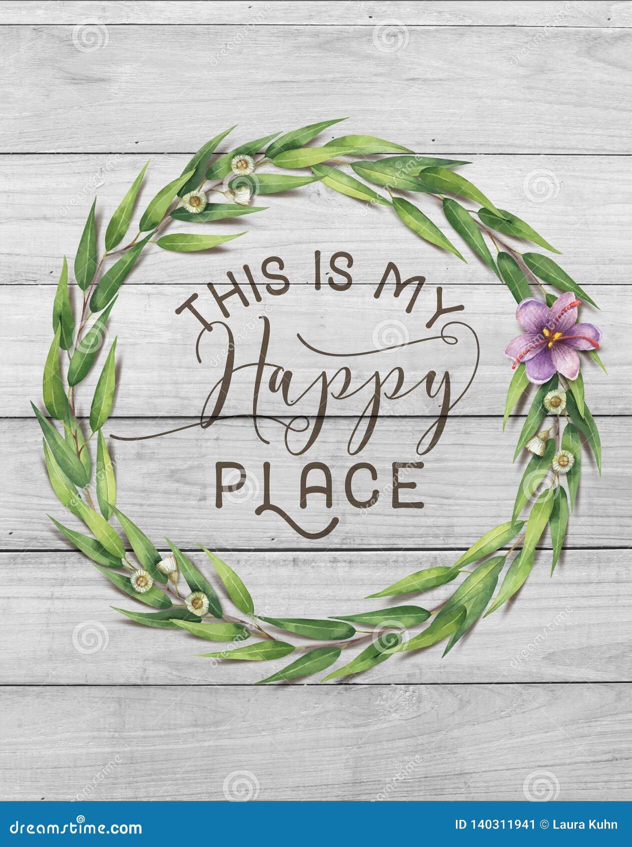 Αυτό είναι το ευτυχές Floral στεφάνι βαμβακιού θέσεών μου με το ξύλινο Shabby κομψό υπόβαθρο