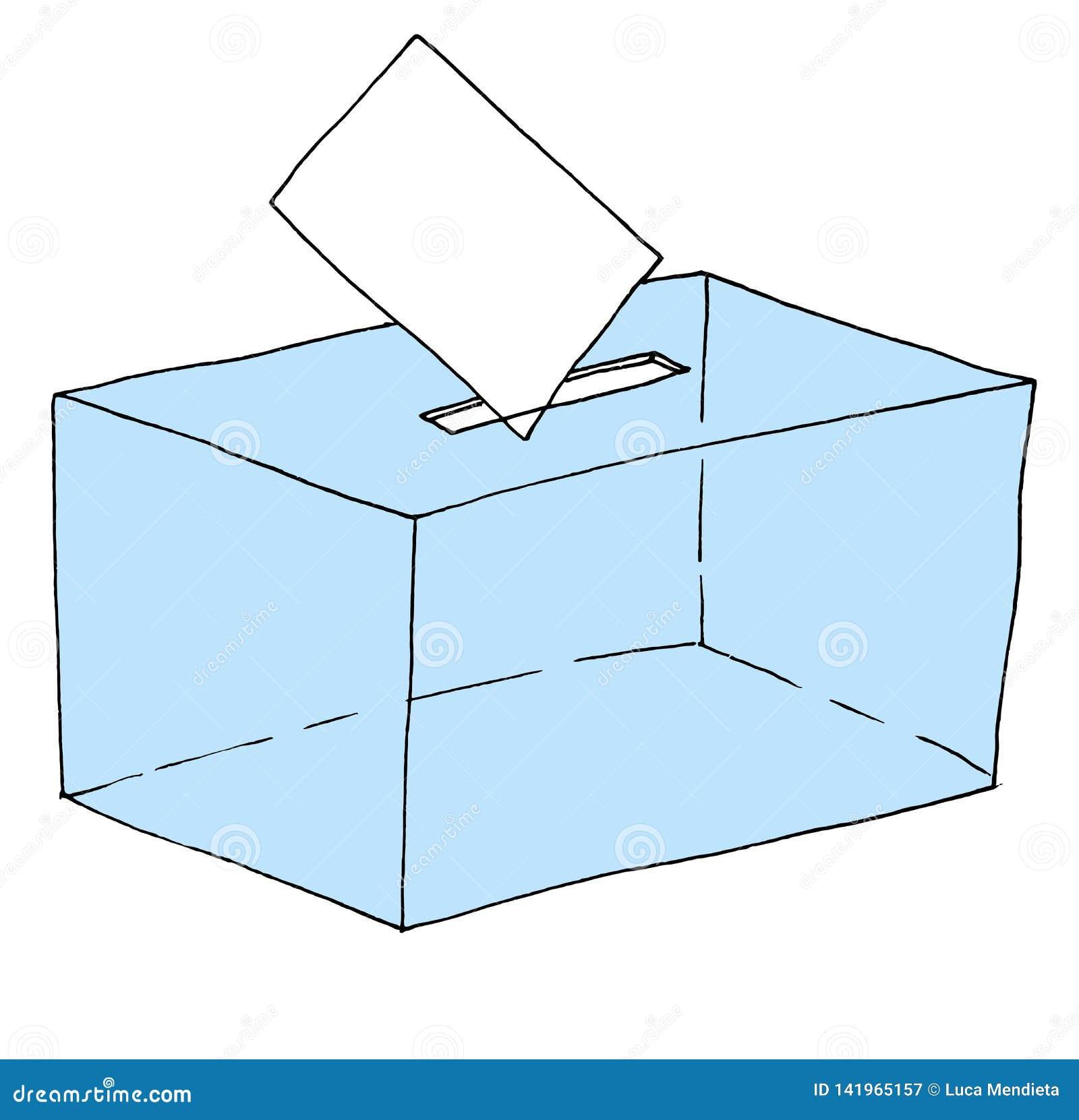Απεικόνιση ενός εκλογικού κάλπη στο οποίο μια ψηφοφορία κατατίθεται