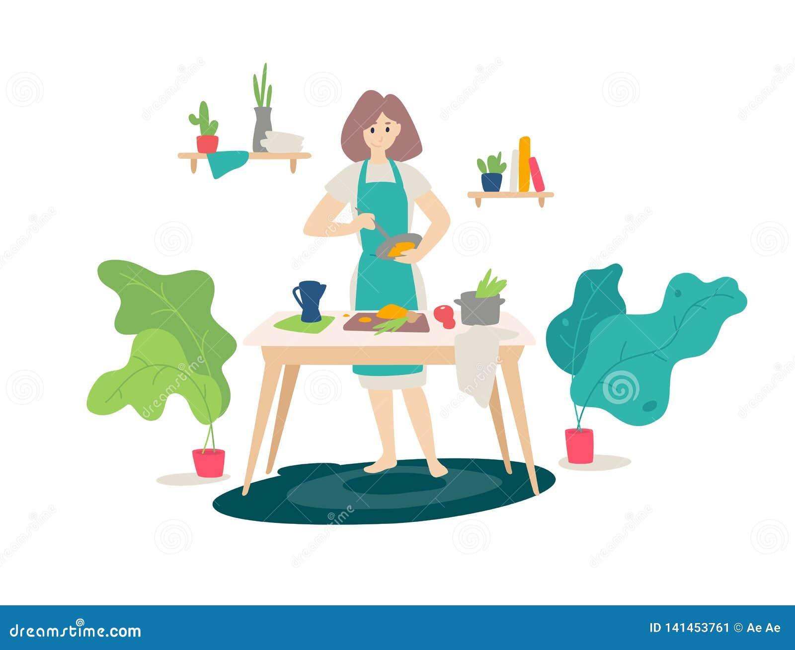 Απεικόνιση ενός κοριτσιού σε ένα μαγείρεμα ποδιών στην κουζίνα διάνυσμα Επίπεδο ύφος κινούμενων σχεδίων Γυναίκα στο μαγείρεμα Σπι