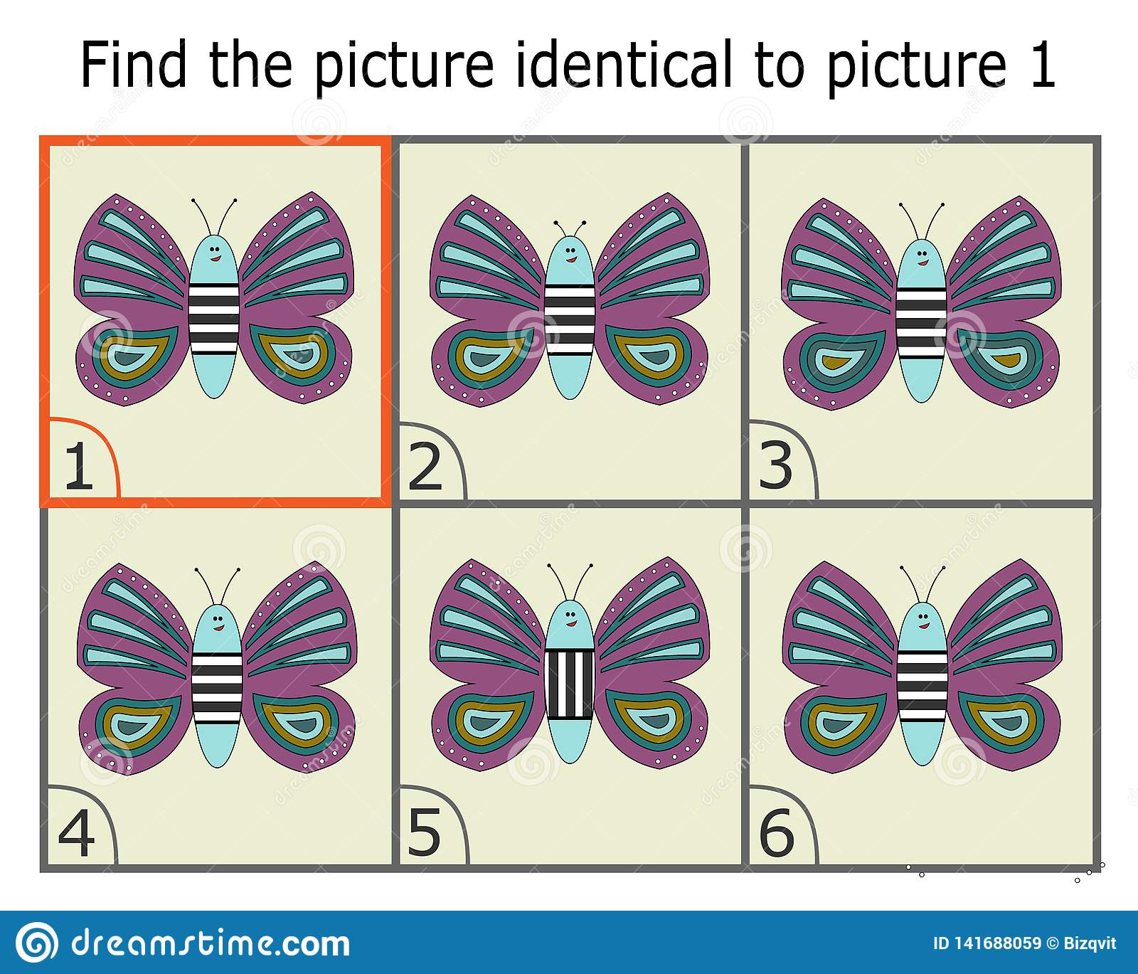 Απεικόνιση της εύρεσης δύο ίδιων εικόνων Εκπαιδευτικό παιχνίδι για τα παιδιά Πεταλούδα