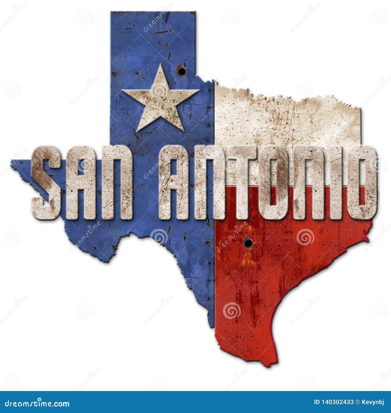 Απομονωμένο μέταλλο αστεριών σημαιών Grunge Τέξας σημαδιών του San Antonio