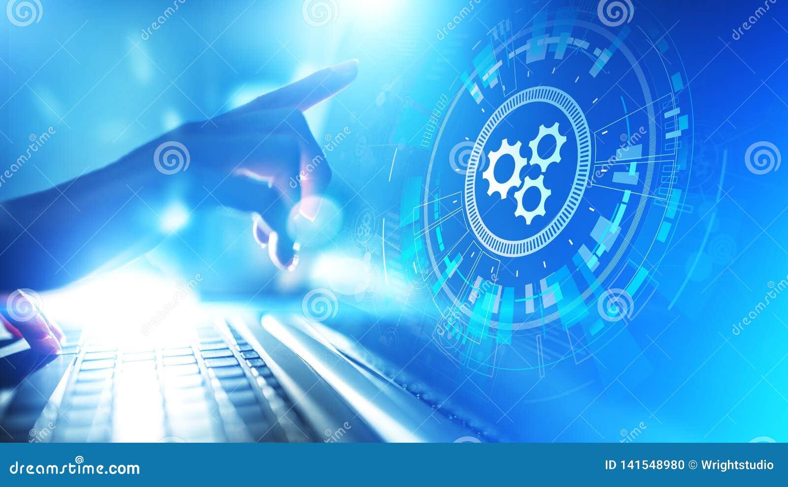 Βελτιστοποίηση ροής της δουλειάς αυτοματοποίησης, επιχειρήσεων και βιομηχανικής διαδικασίας, έννοια ανάπτυξης λογισμικού στην εικ