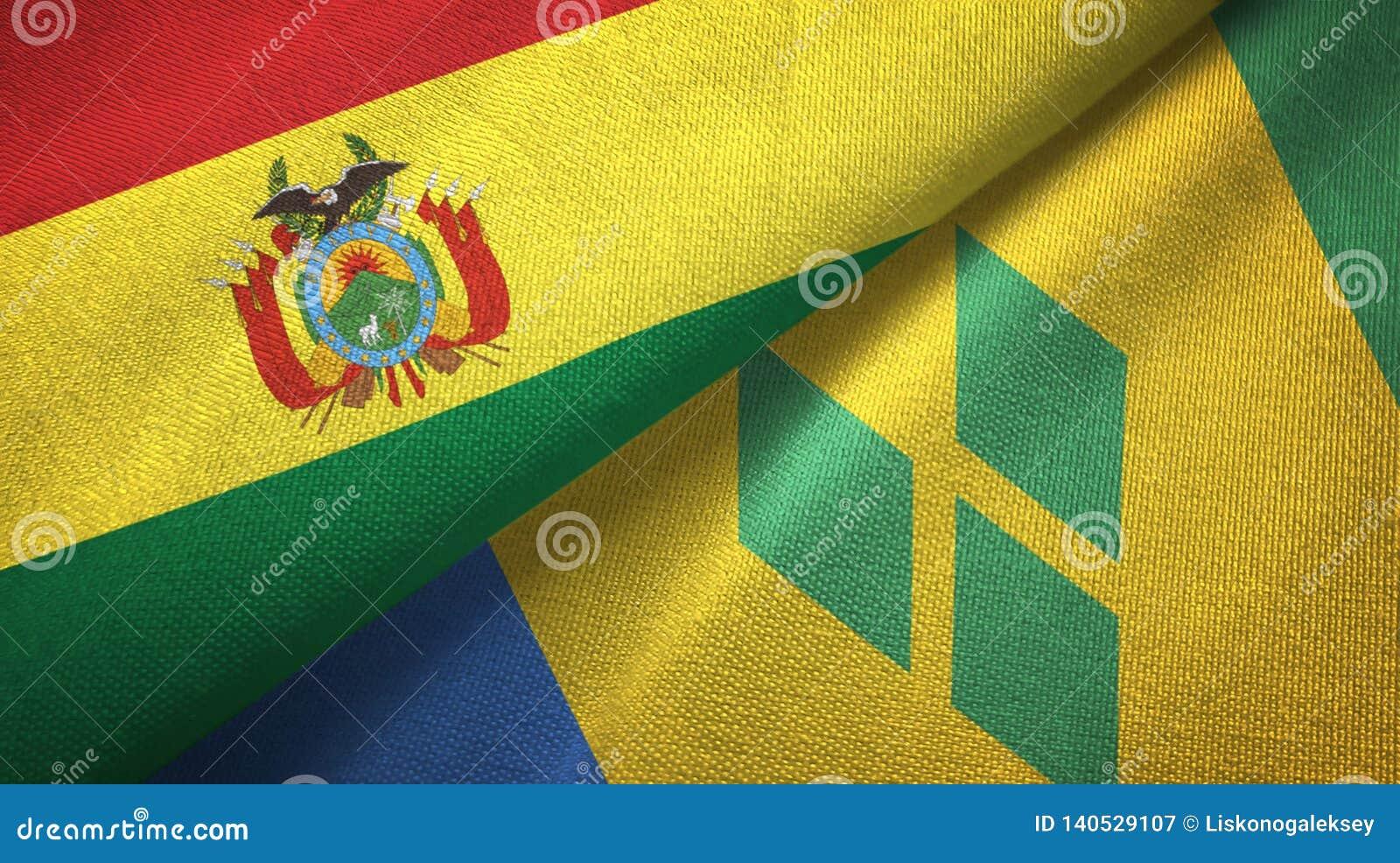 Βολιβία και Άγιος Βικέντιος και Γρεναδίνες δύο υφαντικό ύφασμα σημαιών