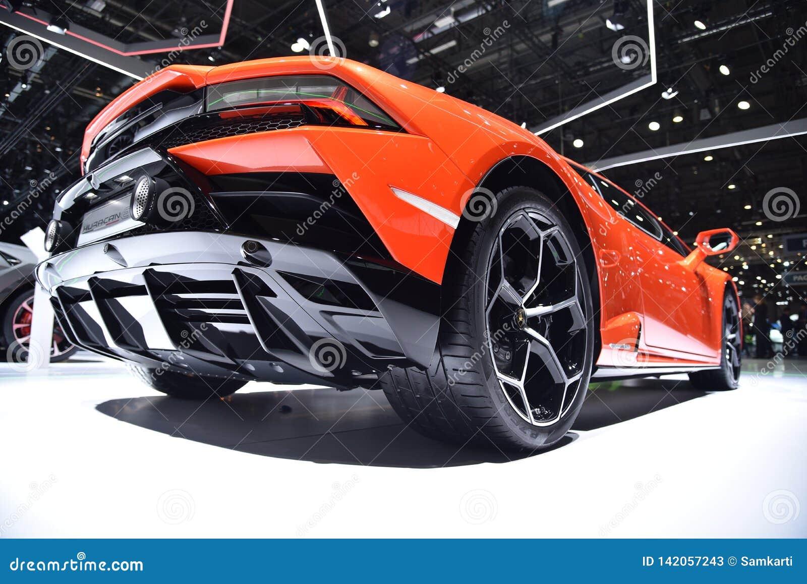 Γενεύη, Ελβετία - 5 Μαρτίου 2019: Αυτοκίνητο Huracan EVO Lamborghini που επιδεικνύεται στη διεθνή έκθεση αυτοκινήτου της 89ης Γεν