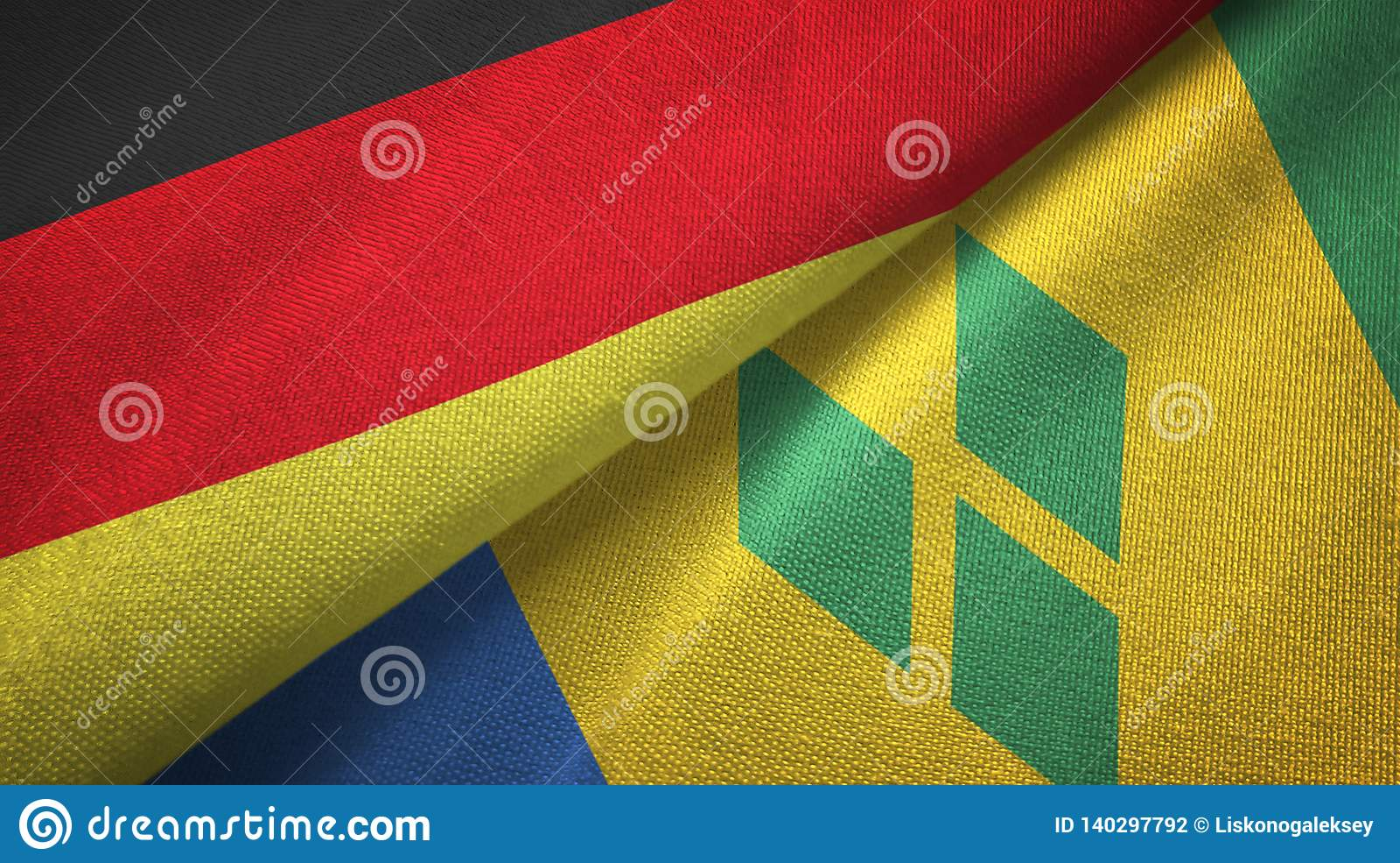 Γερμανία και Άγιος Βικέντιος και Γρεναδίνες δύο υφαντικό ύφασμα σημαιών