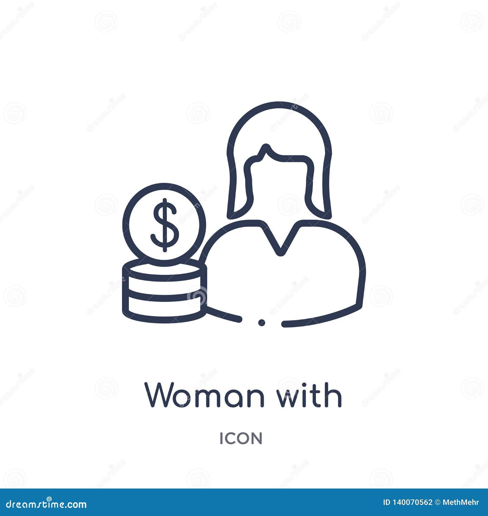 Γραμμική γυναίκα με το εικονίδιο κύκλων δολαρίων από τη συλλογή επιχειρησιακών περιλήψεων Λεπτή γυναίκα γραμμών με το εικονίδιο κ