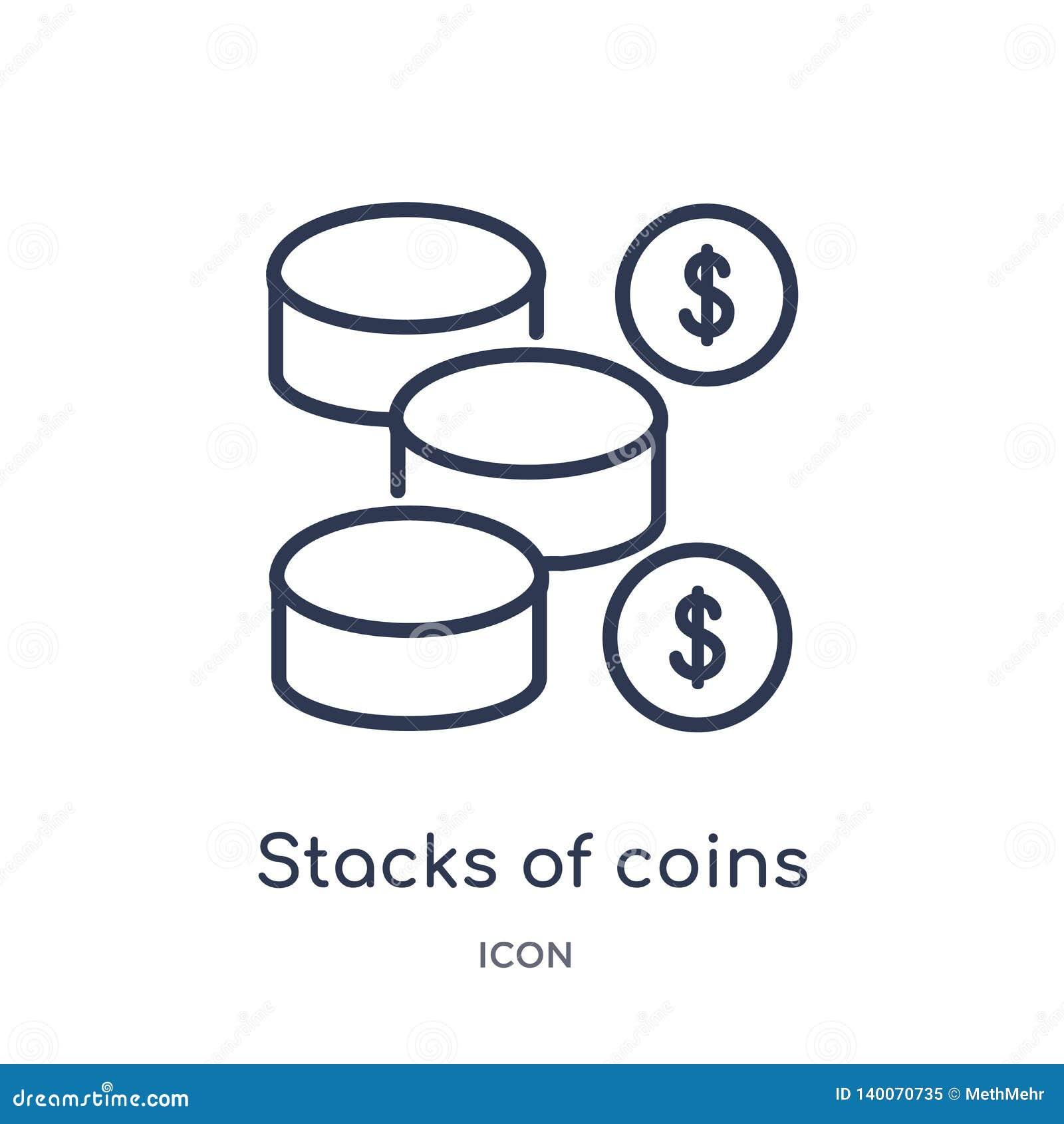 Γραμμικοί σωροί του εικονιδίου νομισμάτων από τη συλλογή επιχειρησιακών περιλήψεων Λεπτοί σωροί γραμμών του εικονιδίου νομισμάτων