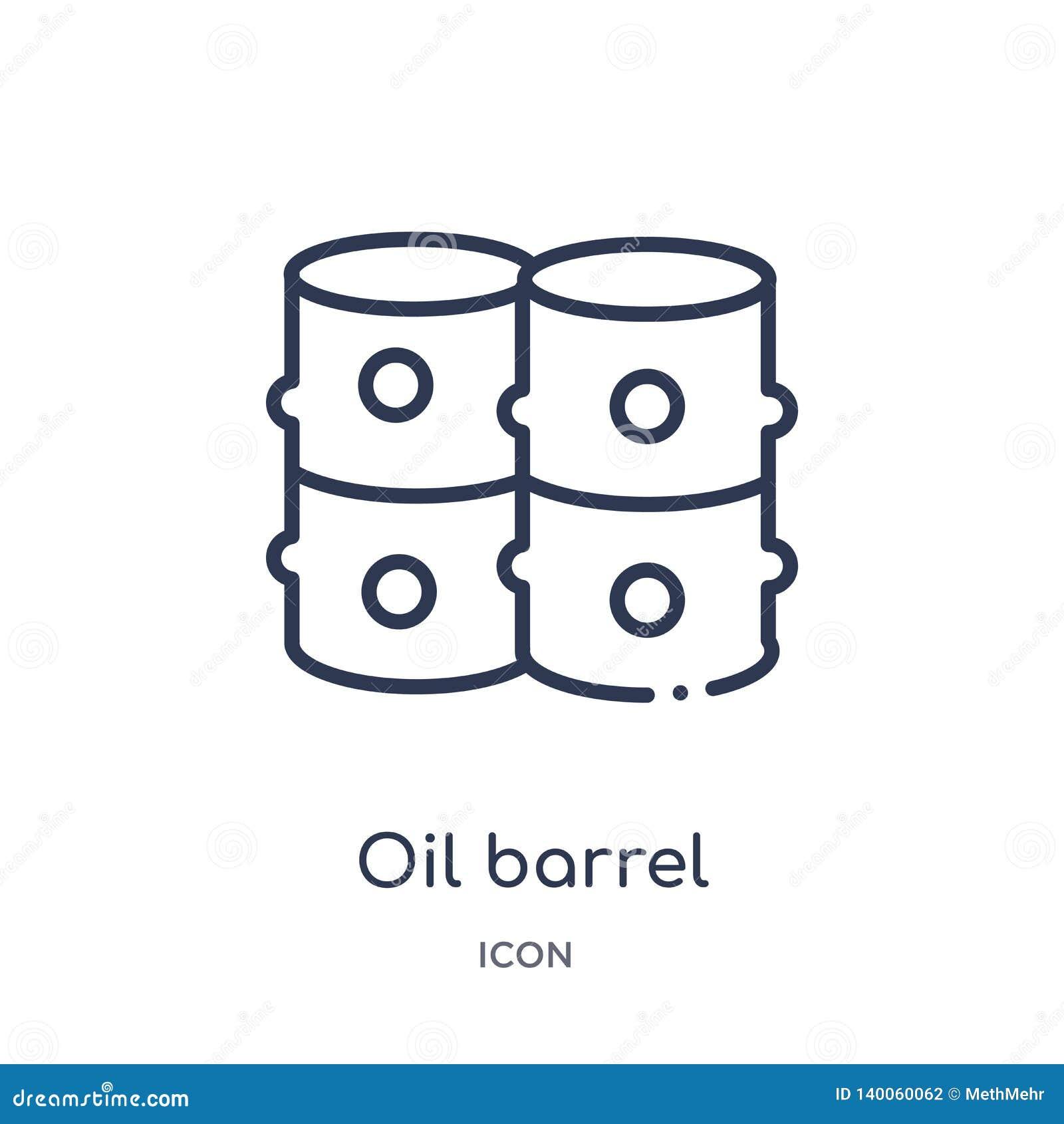 Γραμμικό εικονίδιο βαρελιών πετρελαίου από τη συλλογή περιλήψεων βιομηχανίας Λεπτό εικονίδιο βαρελιών πετρελαίου γραμμών που απομ