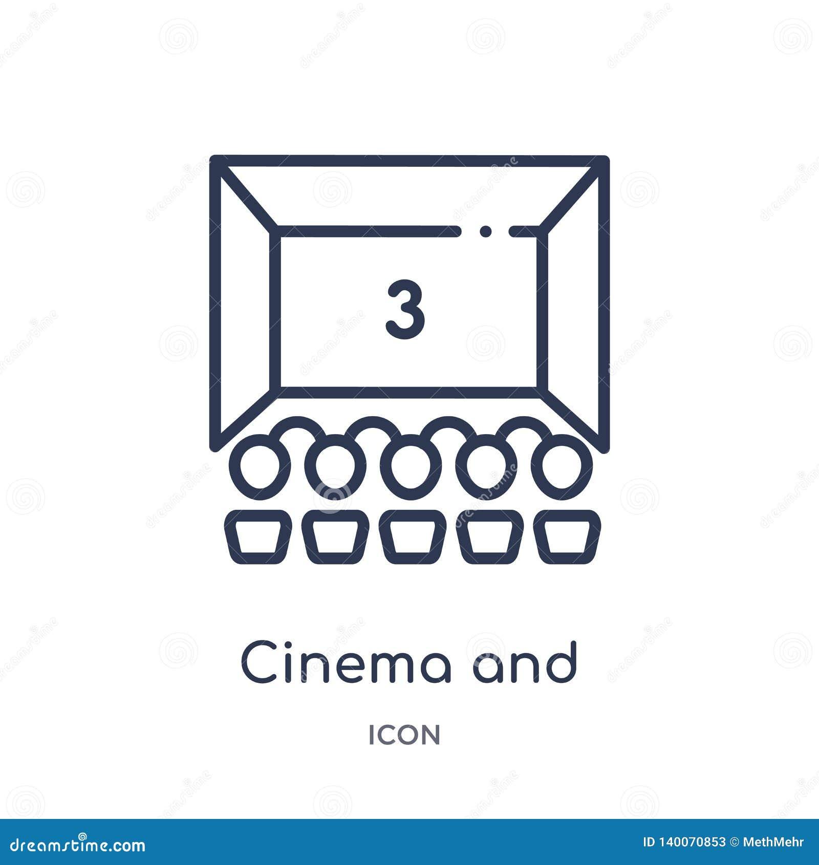 Γραμμικό εικονίδιο κινηματογράφων και ακροατηρίων από τη συλλογή περιλήψεων κινηματογράφων Λεπτοί κινηματογράφος γραμμών και εικο