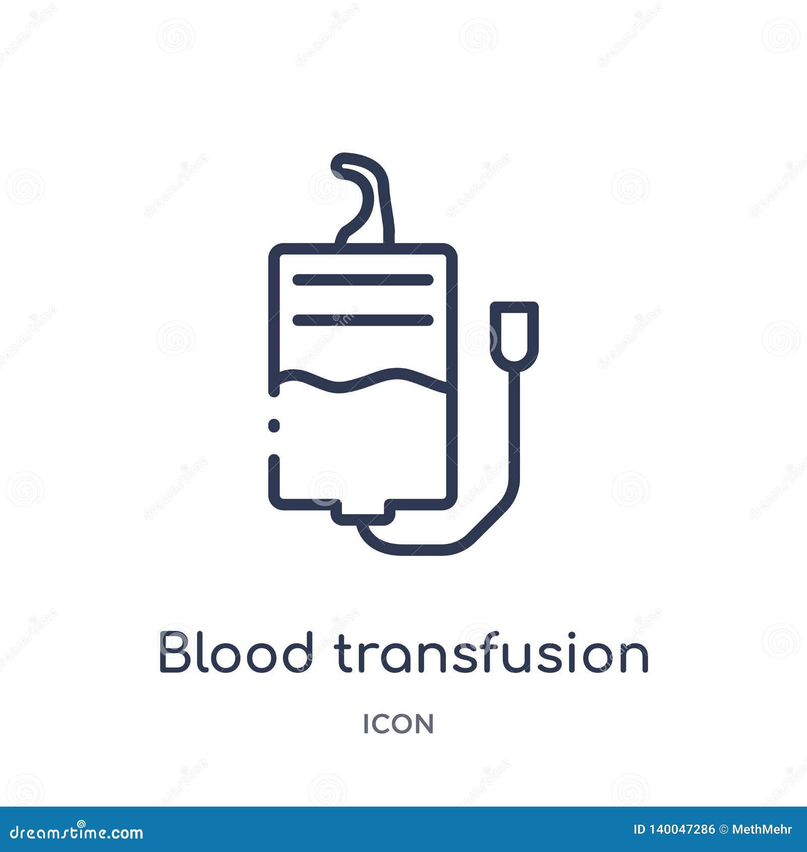 Γραμμικό εικονίδιο μετάγγισης αίματος από τη συλλογή περιλήψεων στρατού Λεπτό διάνυσμα μετάγγισης αίματος γραμμών που απομονώνετα