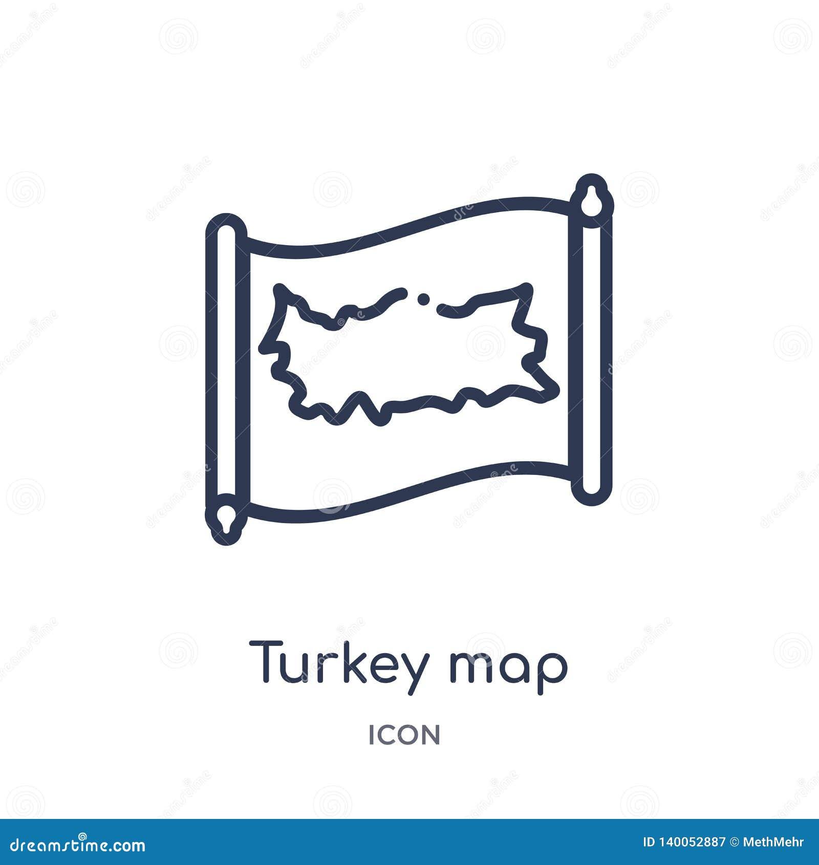 Γραμμικό εικονίδιο χαρτών της Τουρκίας από τη συλλογή περιλήψεων Countrymaps Λεπτό διάνυσμα χαρτών της Τουρκίας γραμμών που απομο