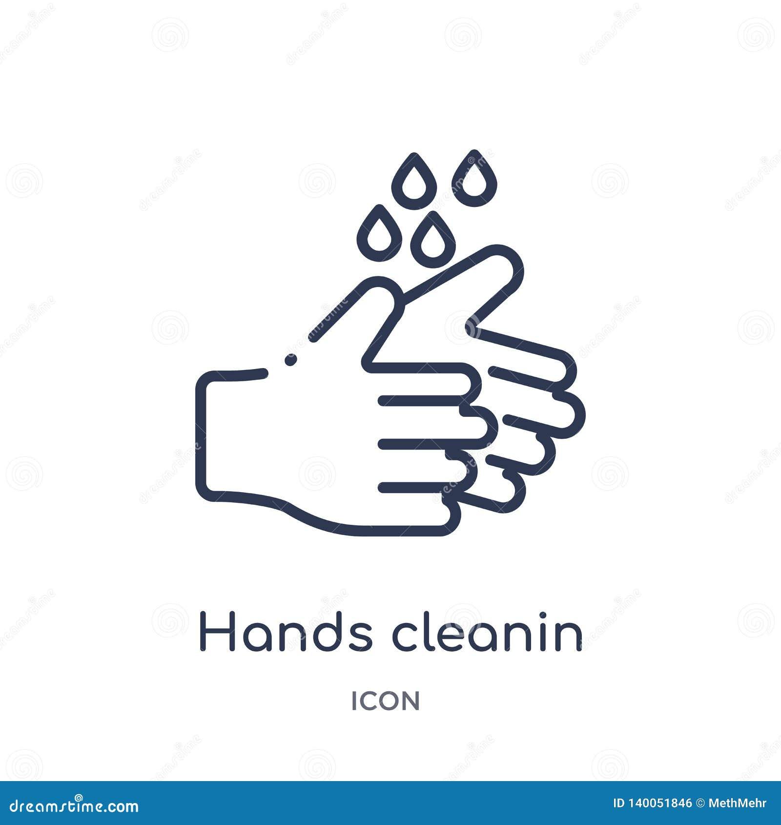 Γραμμικό εικονίδιο χεριών cleanin από τη συλλογή περιλήψεων καθαρισμού Η λεπτή γραμμή δίνει cleanin το διάνυσμα που απομονώνεται