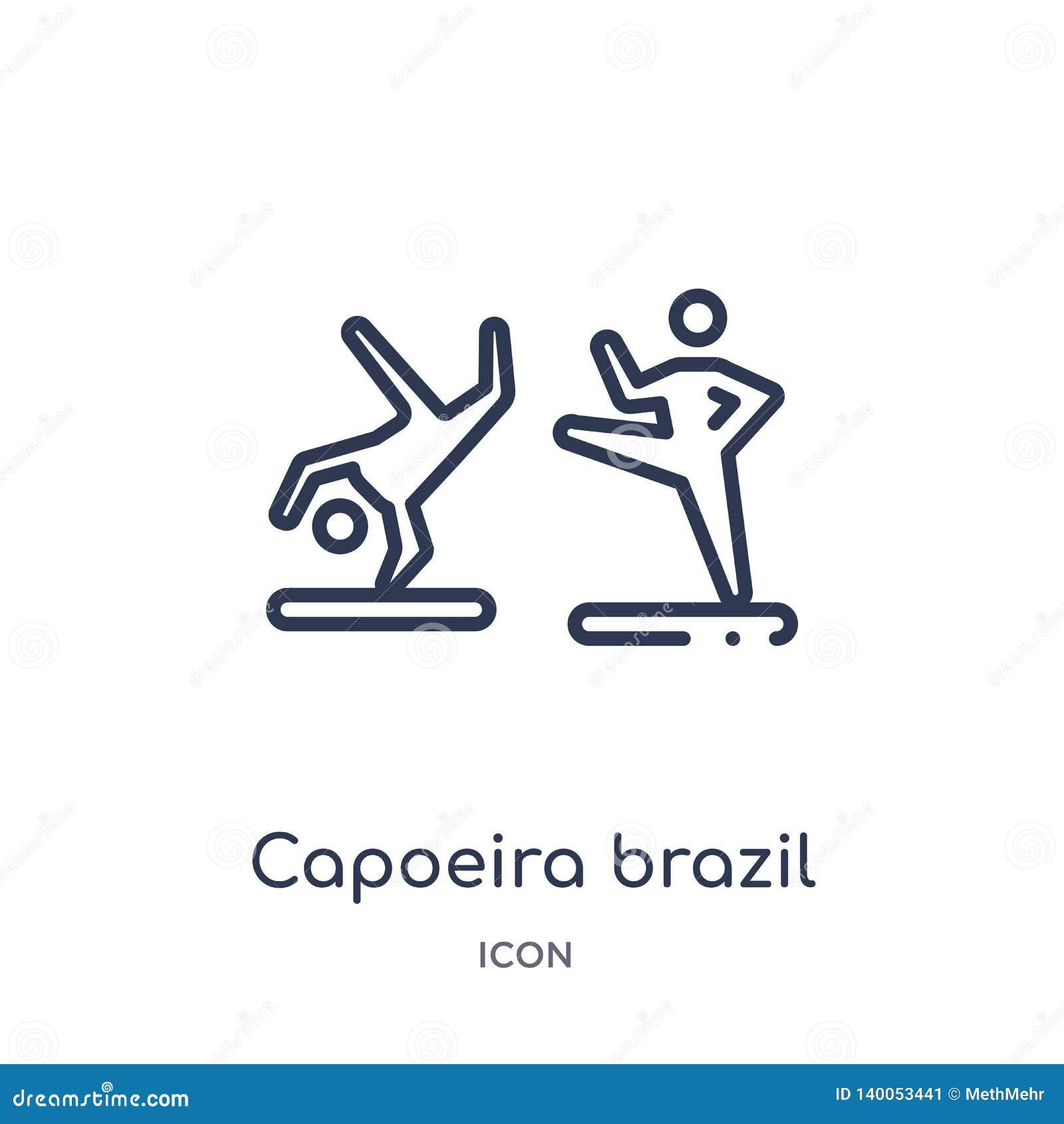 Γραμμικό εικονίδιο χορευτών της Βραζιλίας capoeira από τη συλλογή περιλήψεων πολιτισμού Λεπτό διάνυσμα χορευτών της Βραζιλίας cap