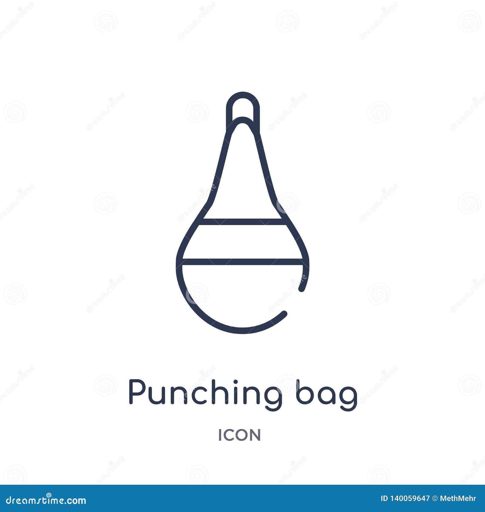 Γραμμικό punching εικονίδιο τσαντών από τη συλλογή περιλήψεων υγείας Λεπτό punching γραμμών εικονίδιο τσαντών που απομονώνεται στ