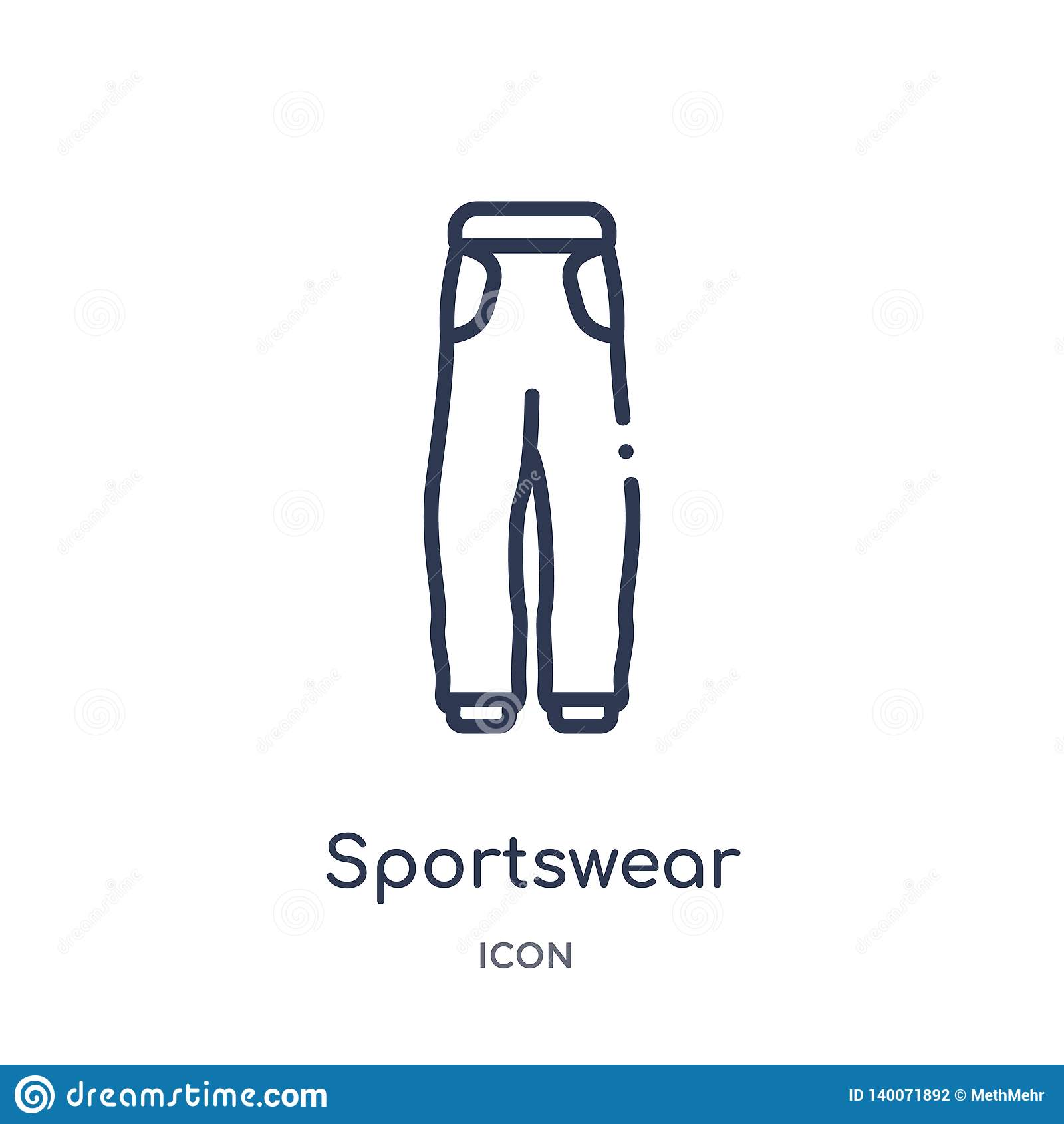 Γραμμικό sportswear εικονίδιο από τη συλλογή περιλήψεων μόδας Λεπτό sportswear γραμμών εικονίδιο που απομονώνεται στο άσπρο υπόβα