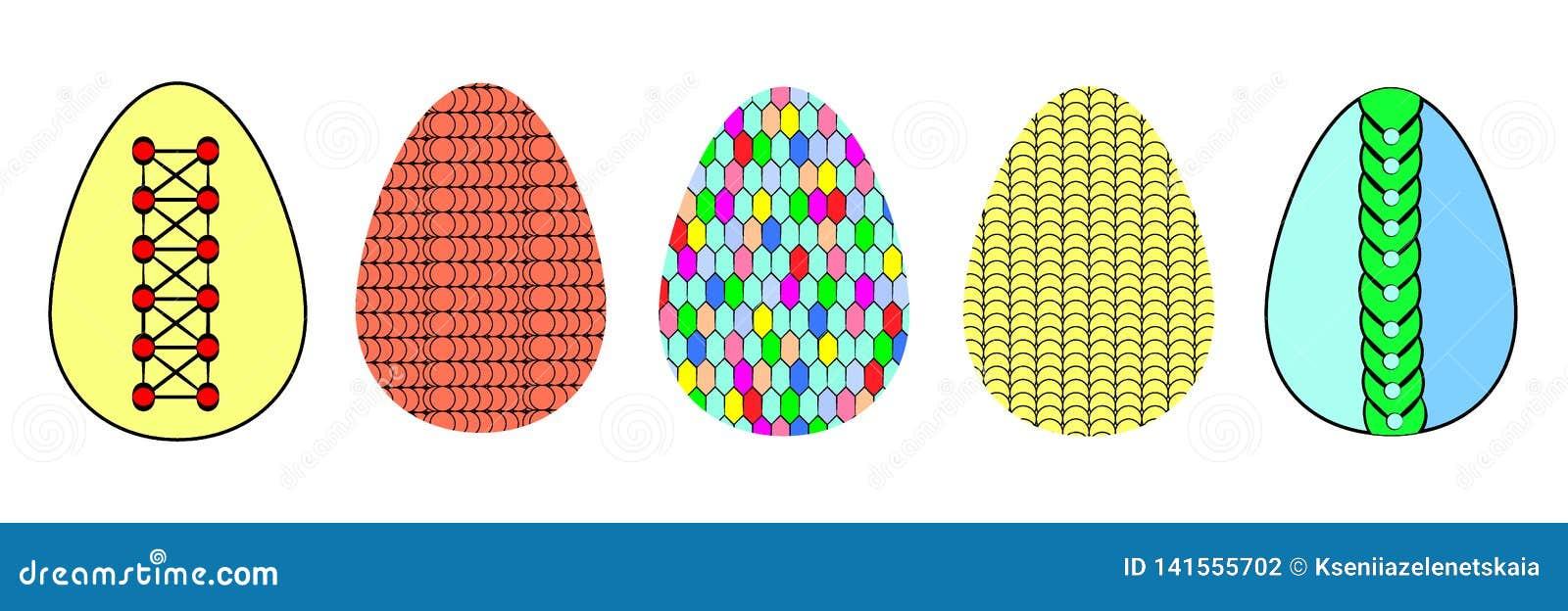 Εικονίδια Tylish των τυποποιημένων ζωηρόχρωμων αυγών Πάσχας