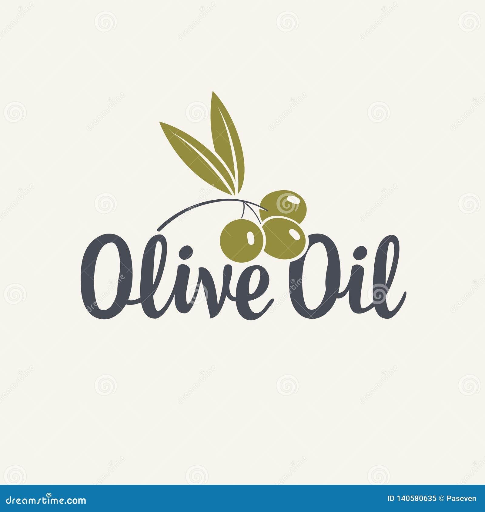 Εικονίδιο ή λογότυπο για το ελαιόλαδο με το κλαδί ελιάς