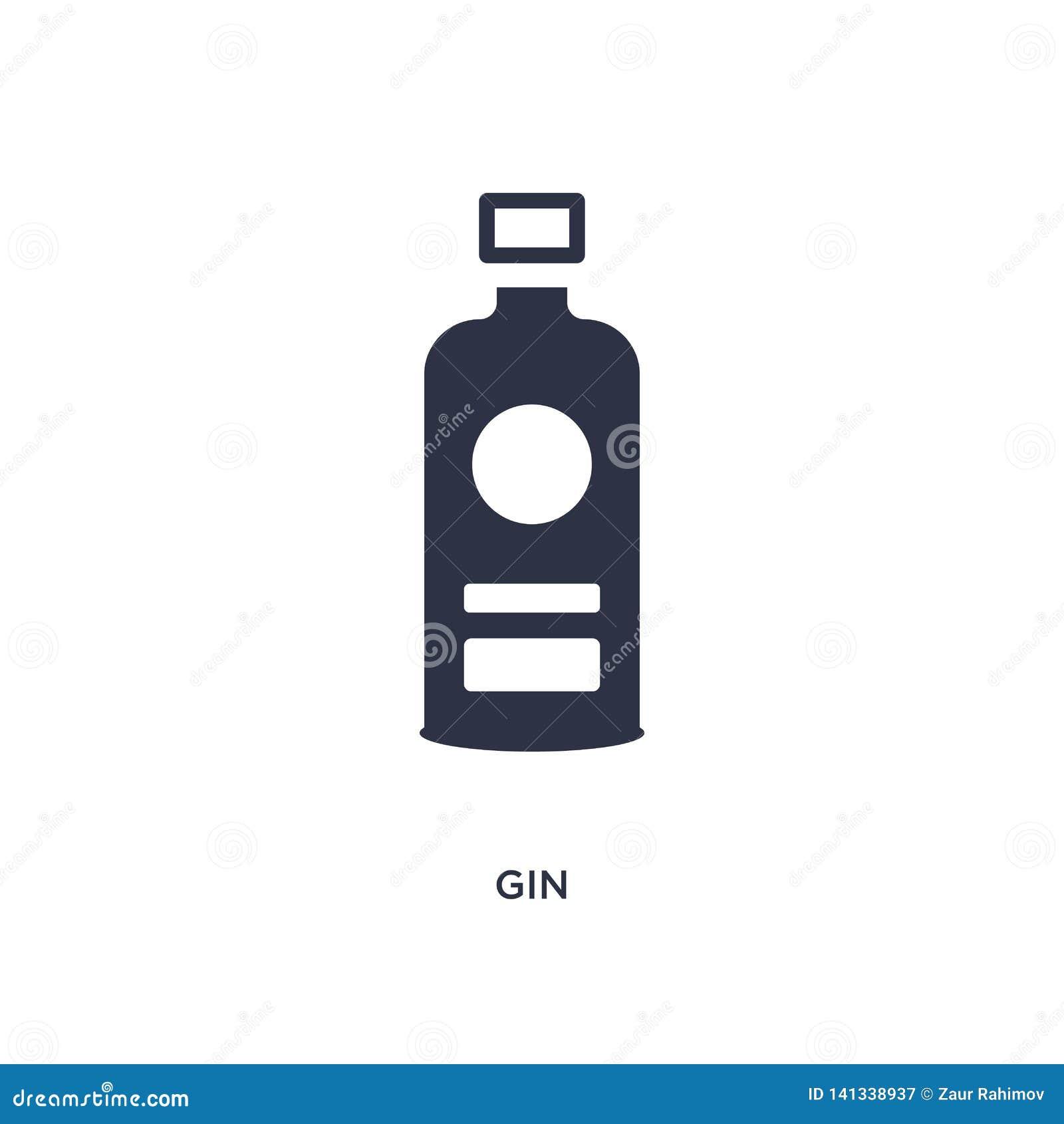 εικονίδιο τζιν στο άσπρο υπόβαθρο Απλή απεικόνιση στοιχείων από την έννοια γαστρονομίας