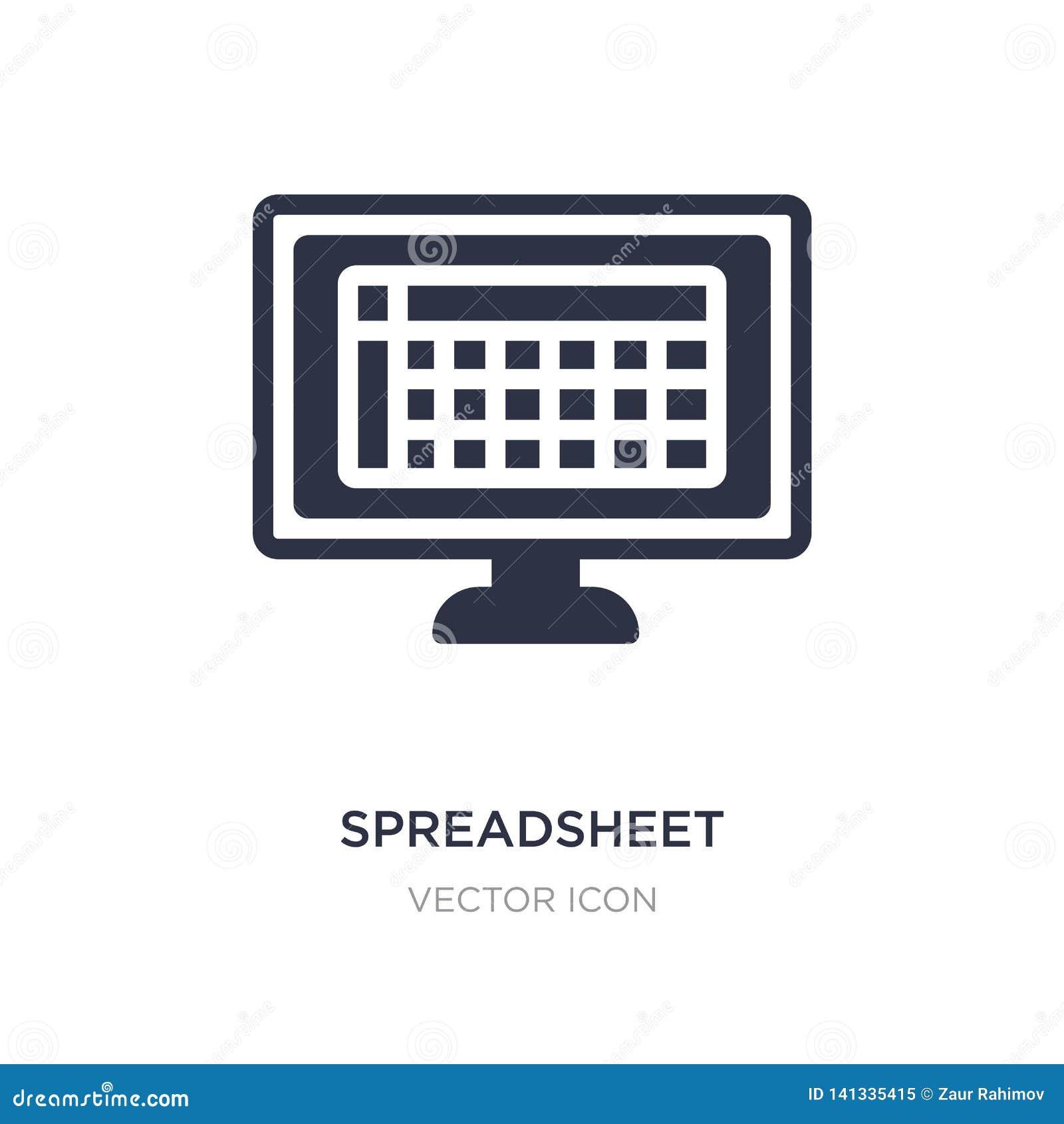 εικονίδιο υπολογισμών με λογιστικό φύλλο (spreadsheet) στο άσπρο υπόβαθρο Απλή απεικόνιση στοιχείων από την έννοια τεχνολογίας