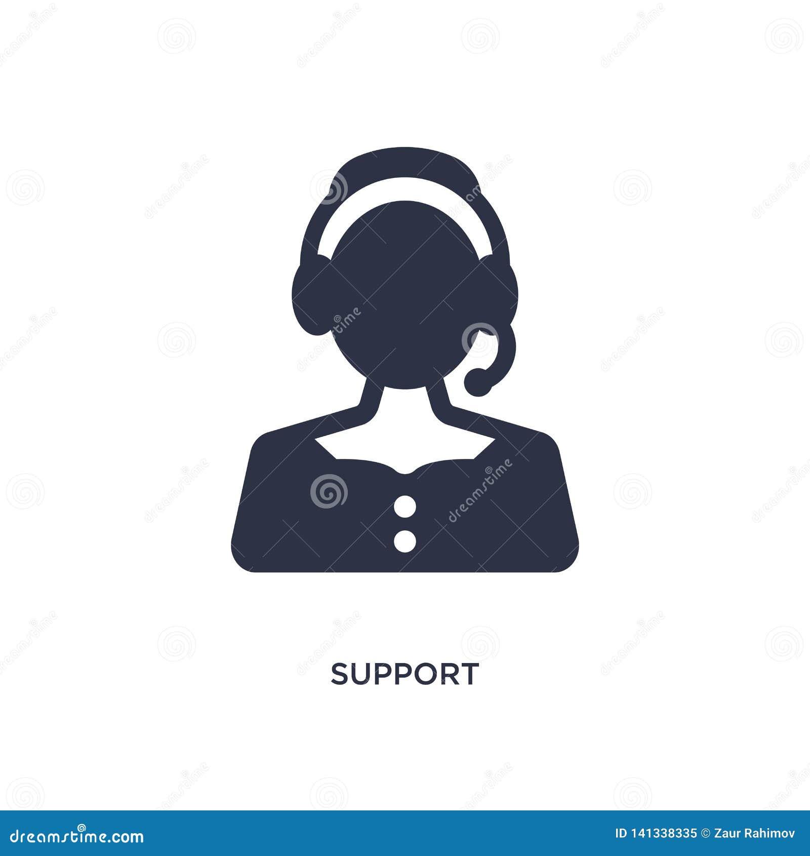 εικονίδιο υποστήριξης στο άσπρο υπόβαθρο Απλή απεικόνιση στοιχείων από την έννοια εξυπηρέτησης πελατών