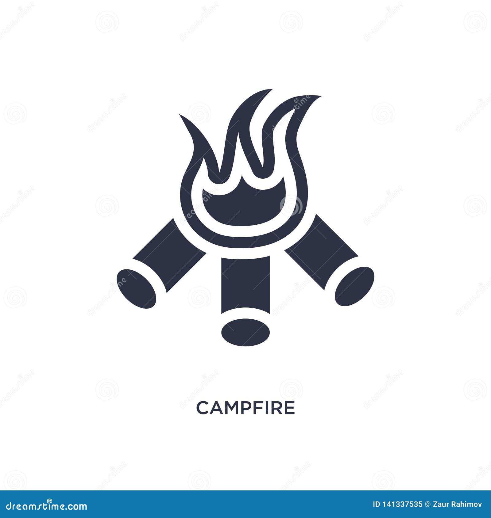 εικονίδιο πυρών προσκόπων στο άσπρο υπόβαθρο Απλή απεικόνιση στοιχείων από την έννοια στρατοπέδευσης