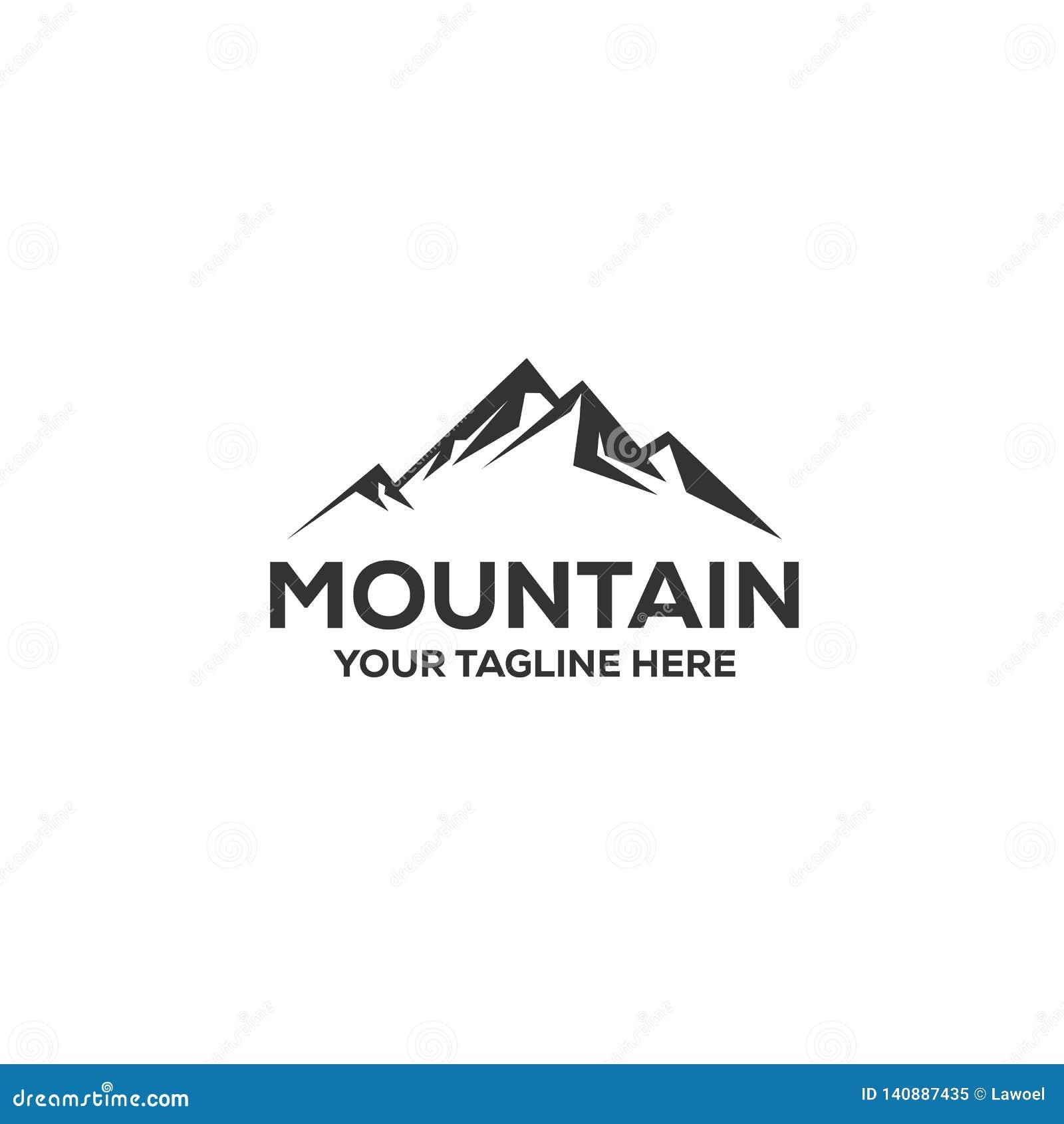 Εμπνεύσεις σχεδίων λογότυπων περιπέτειας με τη θέα βουνού
