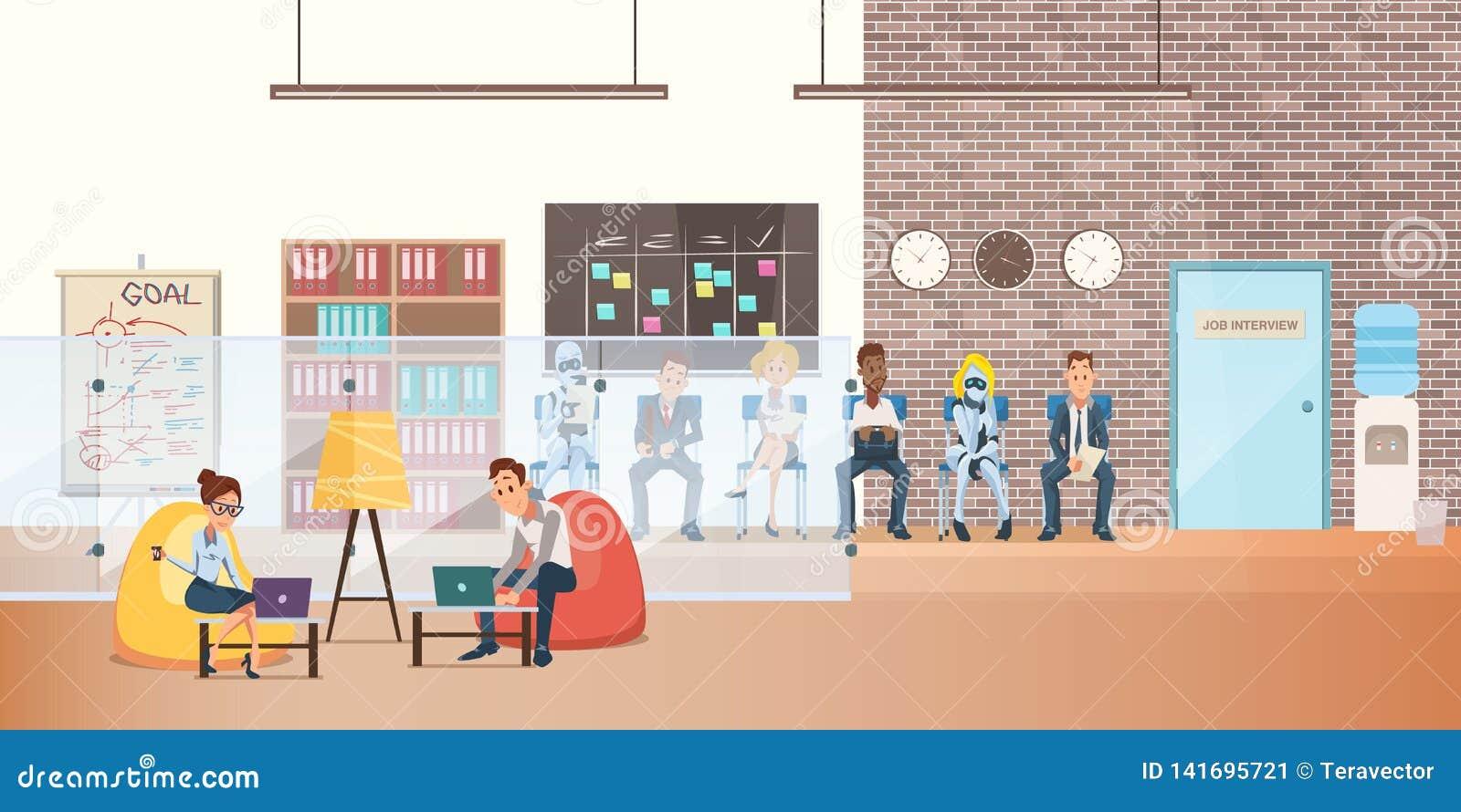 Εργαζόμενος στην έδρα τσαντών φασολιών με το lap-top σε Coworking
