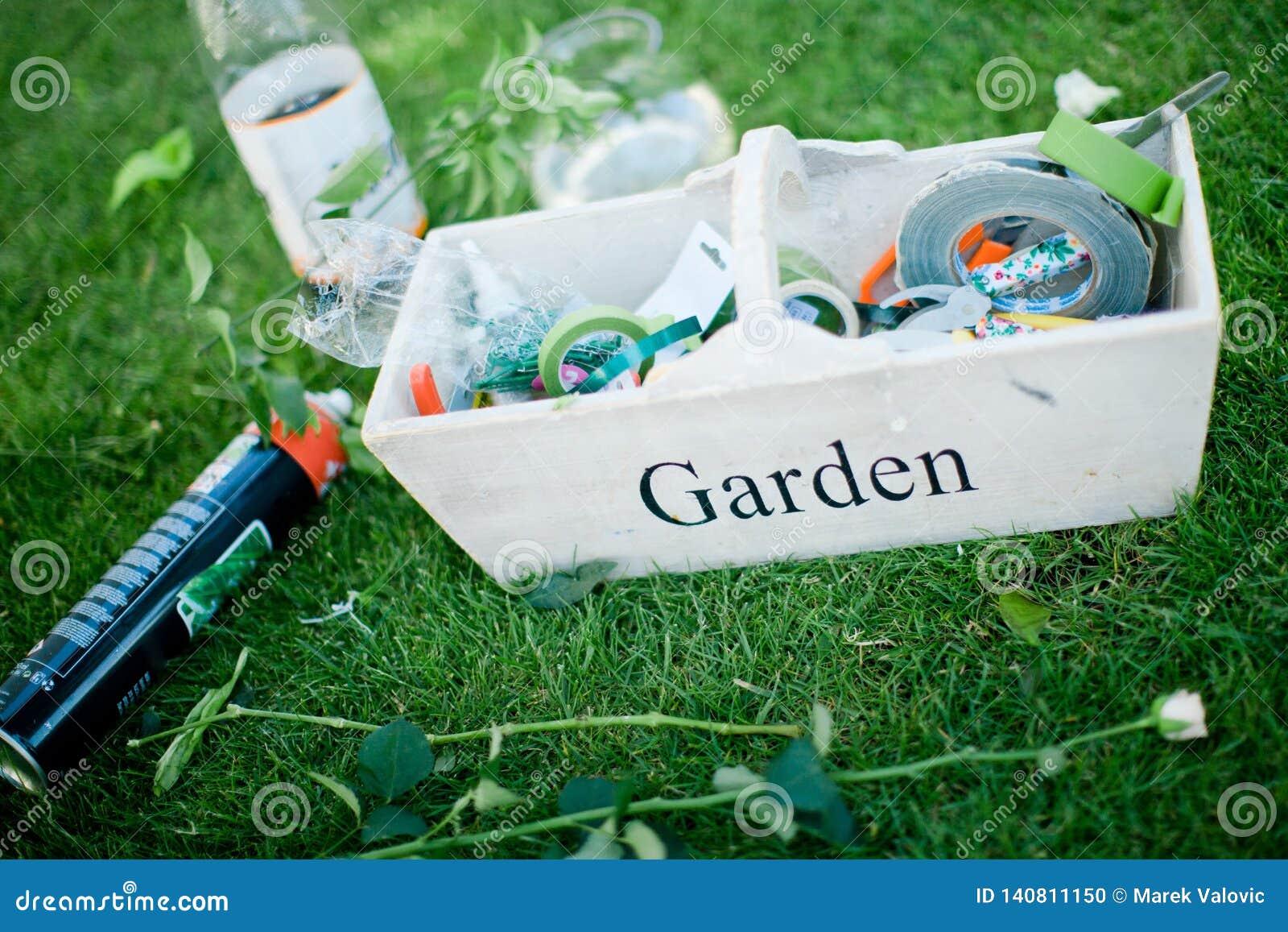 Εργαλεία κήπων στο κιβώτιο έτοιμο για την επιχείρηση ανθοκόμων