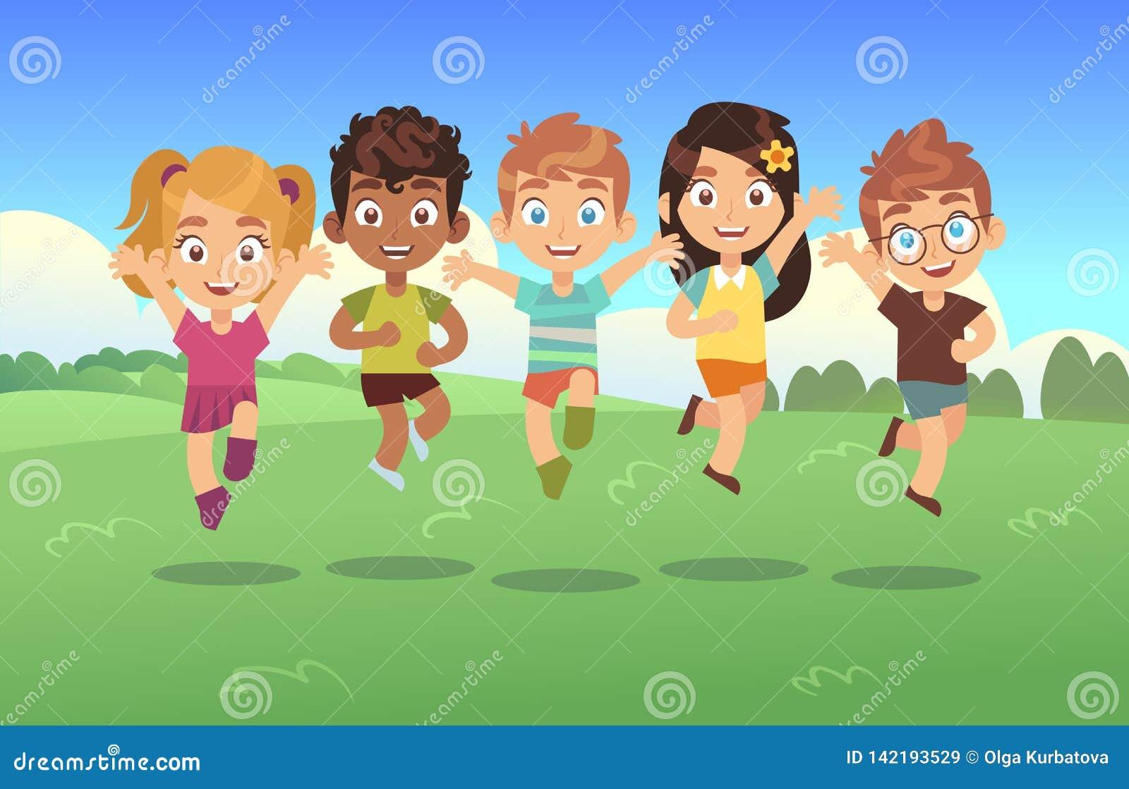 Ευτυχή κατσίκια άλματος Υπόβαθρο άλματος εφήβων πάρκων θερινών λιβαδιών των παιδιών πανοράματος κινούμενων σχεδίων διακοπών παιδι