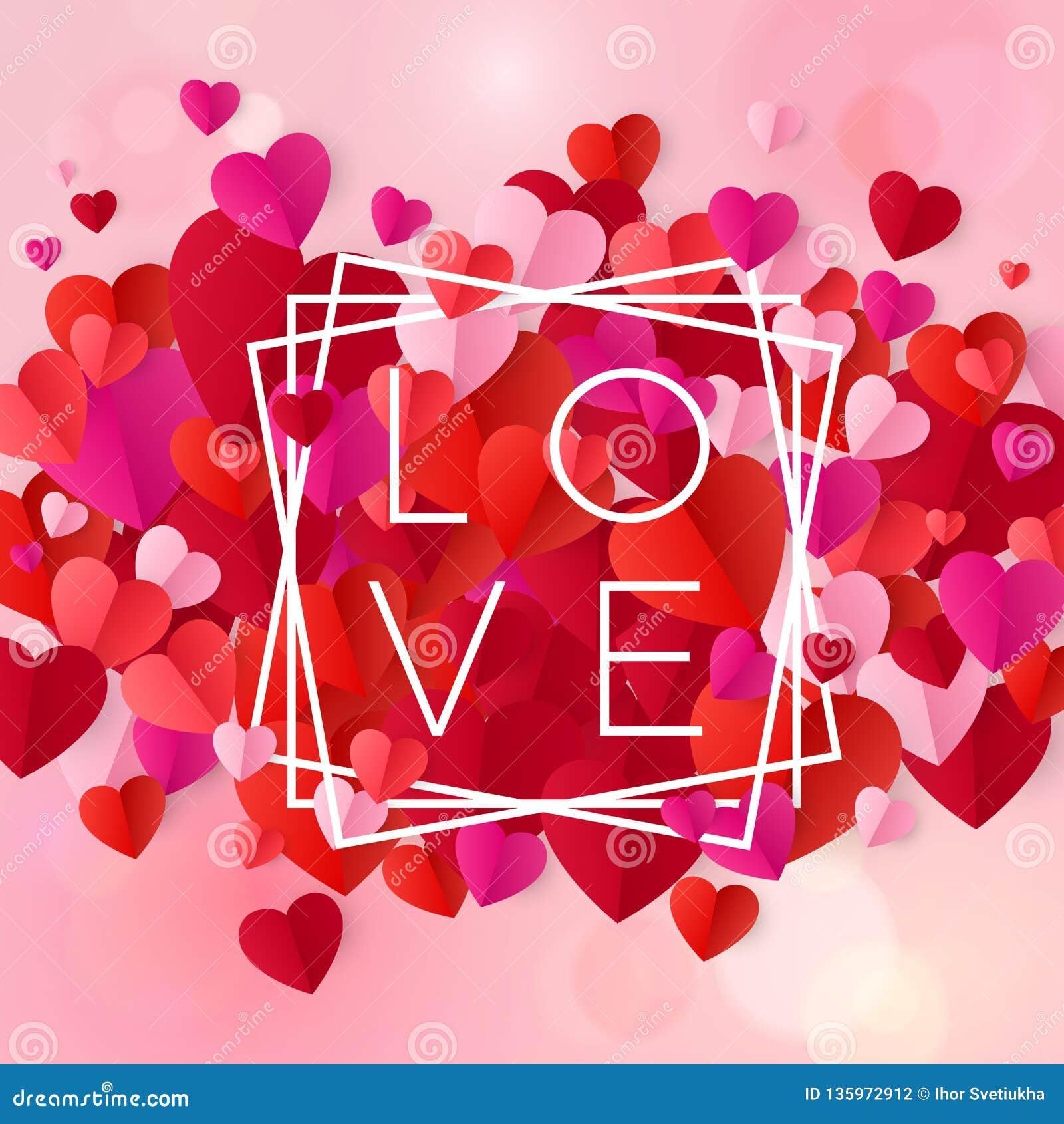 Ευτυχή στοιχεία σχεδίου ημέρας και γάμου βαλεντίνων Αγάπη σχεδίου κειμένων στο άσπρο πλαίσιο στο ρόδινο υπόβαθρο με τις καρδιές δ