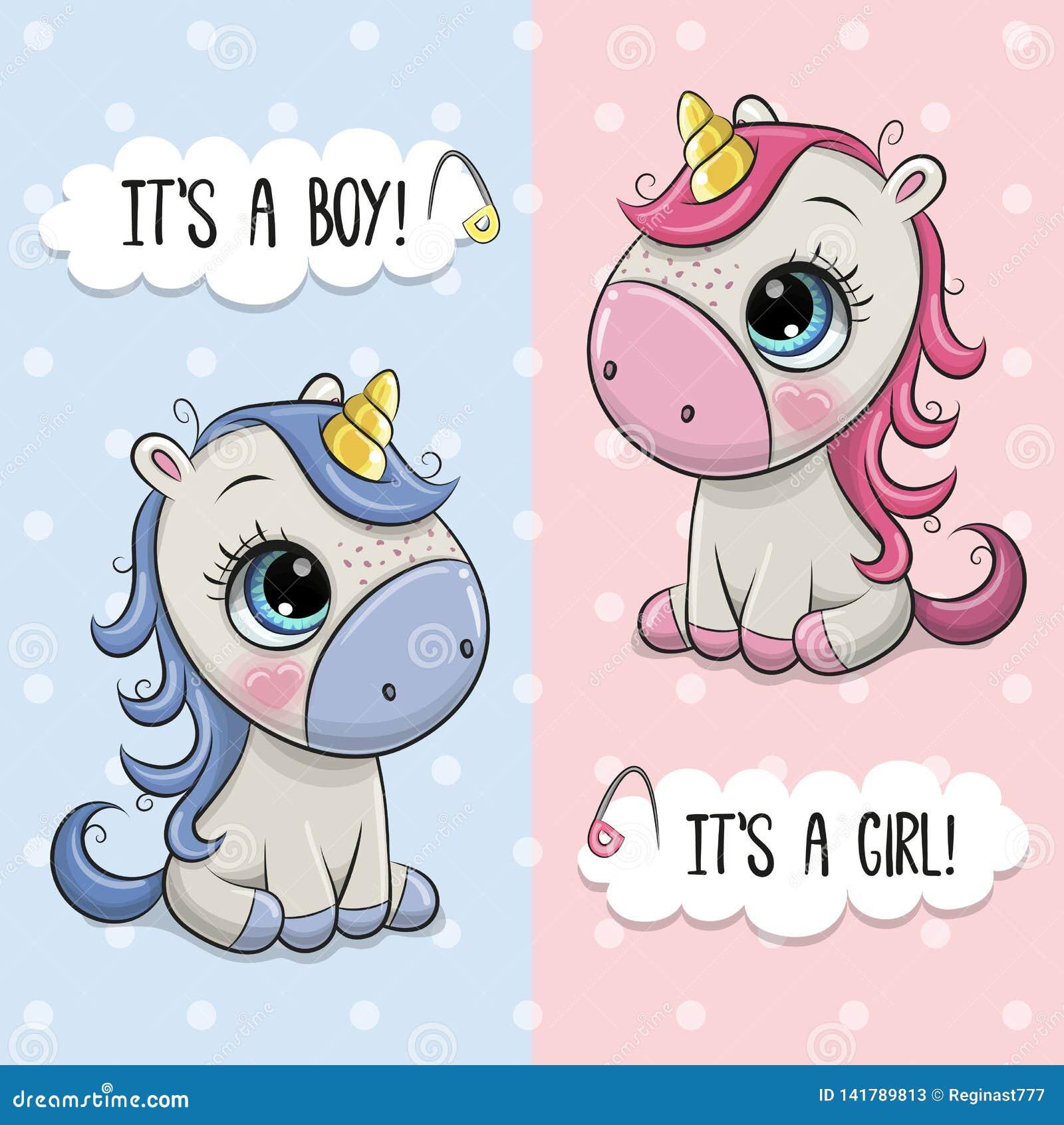 Ευχετήρια κάρτα ντους μωρών με το αγόρι και το κορίτσι μονοκέρων