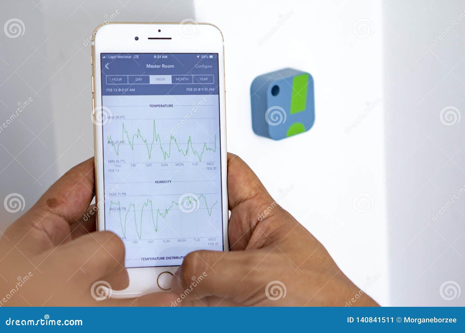 Επίπεδα εγχώριας υγρασίας ελέγχου ατόμων με app