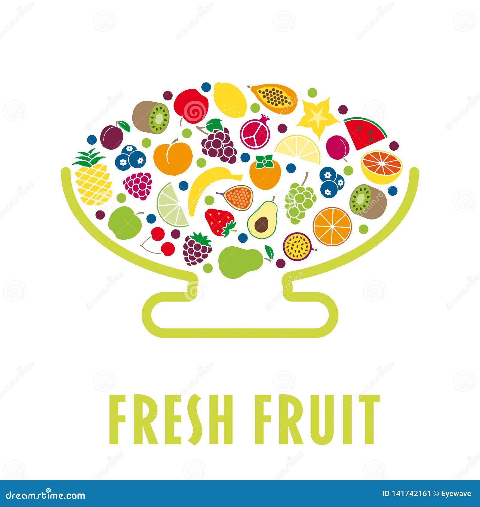 Επίπεδο κύπελλο φρούτων σχεδίου που απομονώνεται