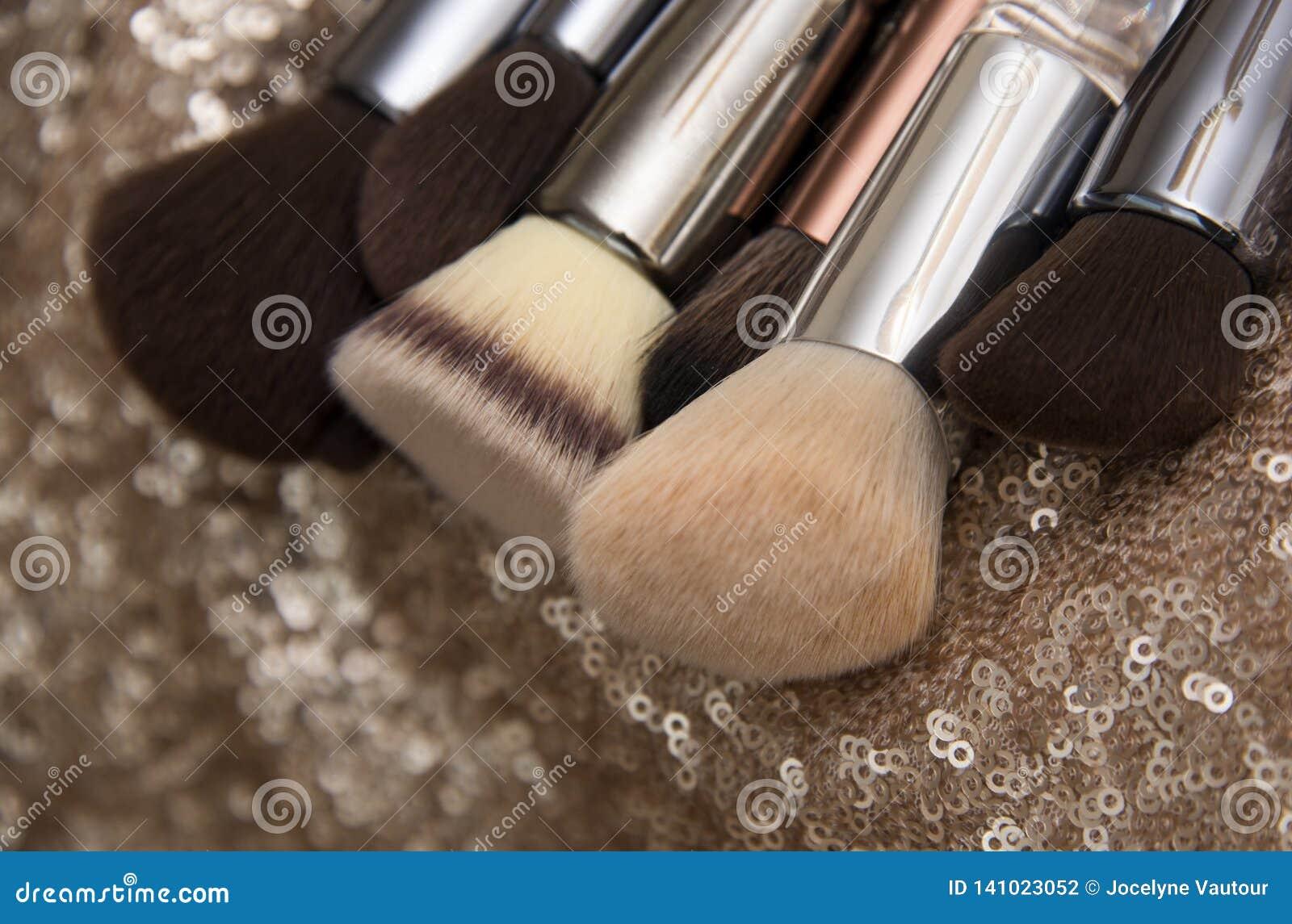 Επαγγελματικές βούρτσες makeup στο ρόδινο υπόβαθρο τσεκιών