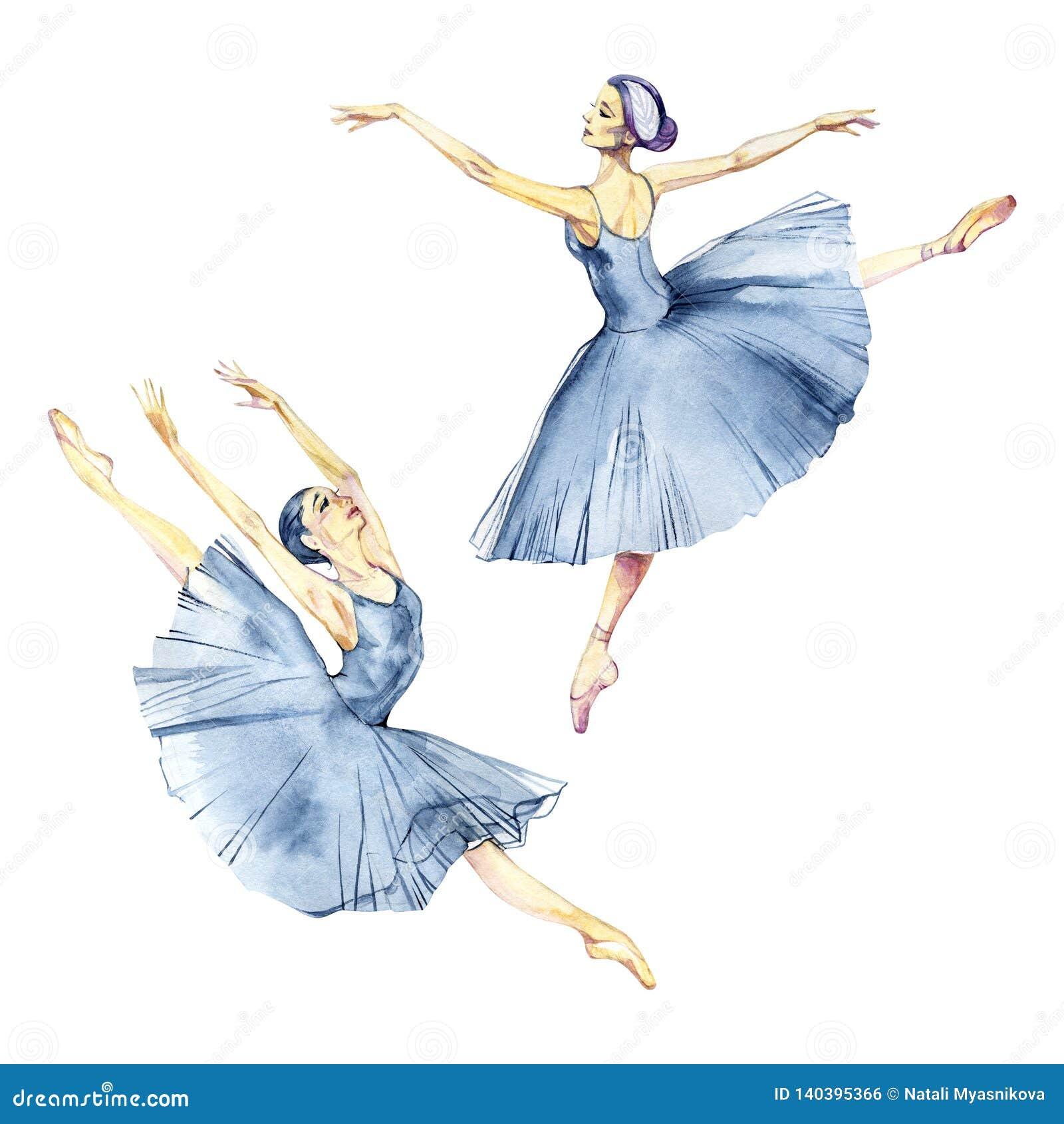 Ζωγραφική watercolor χορού Ballerina που απομονώνεται στην άσπρη ευχετήρια κάρτα υποβάθρου
