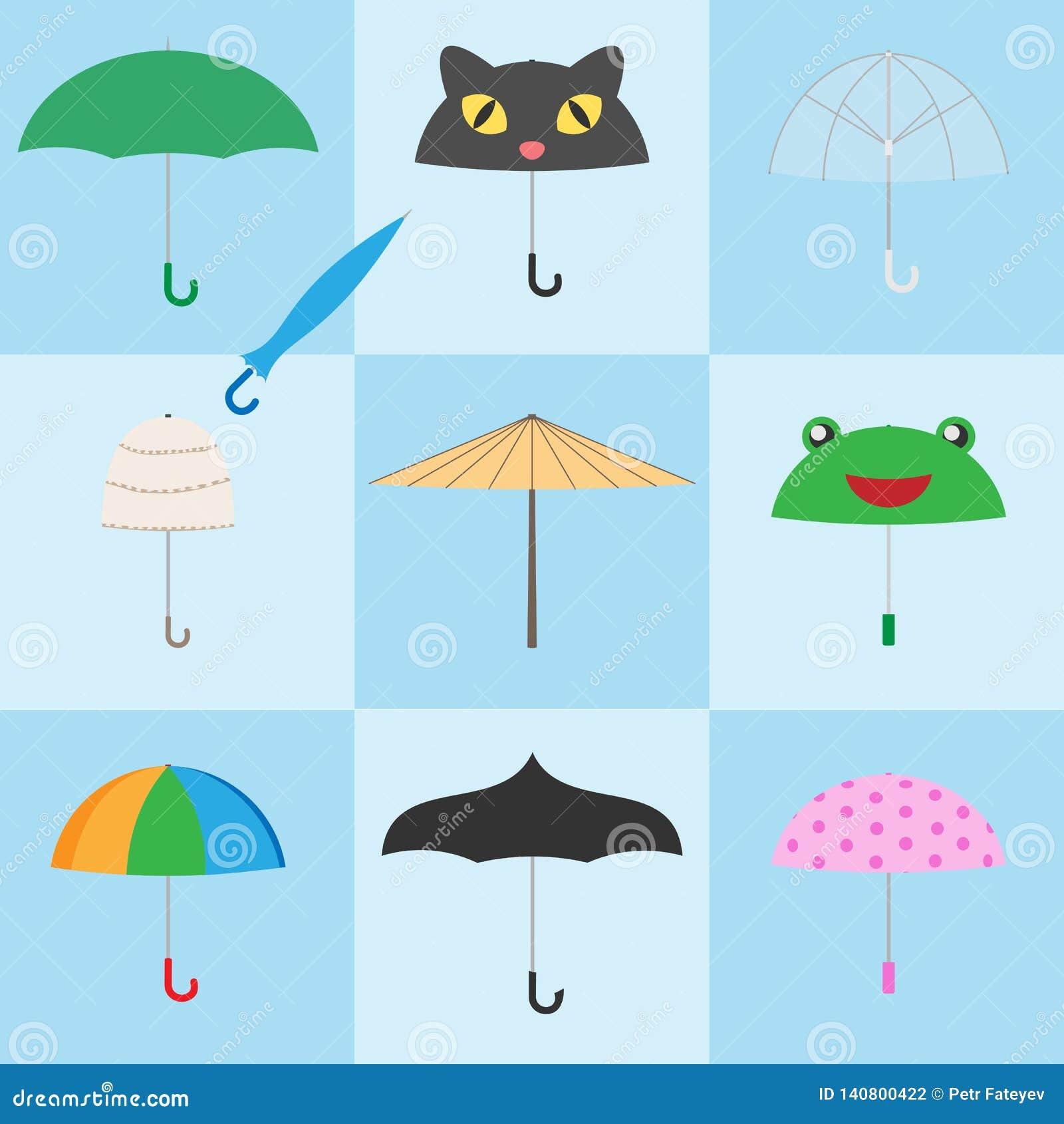 Ζωηρόχρωμα εικονίδια ομπρελών