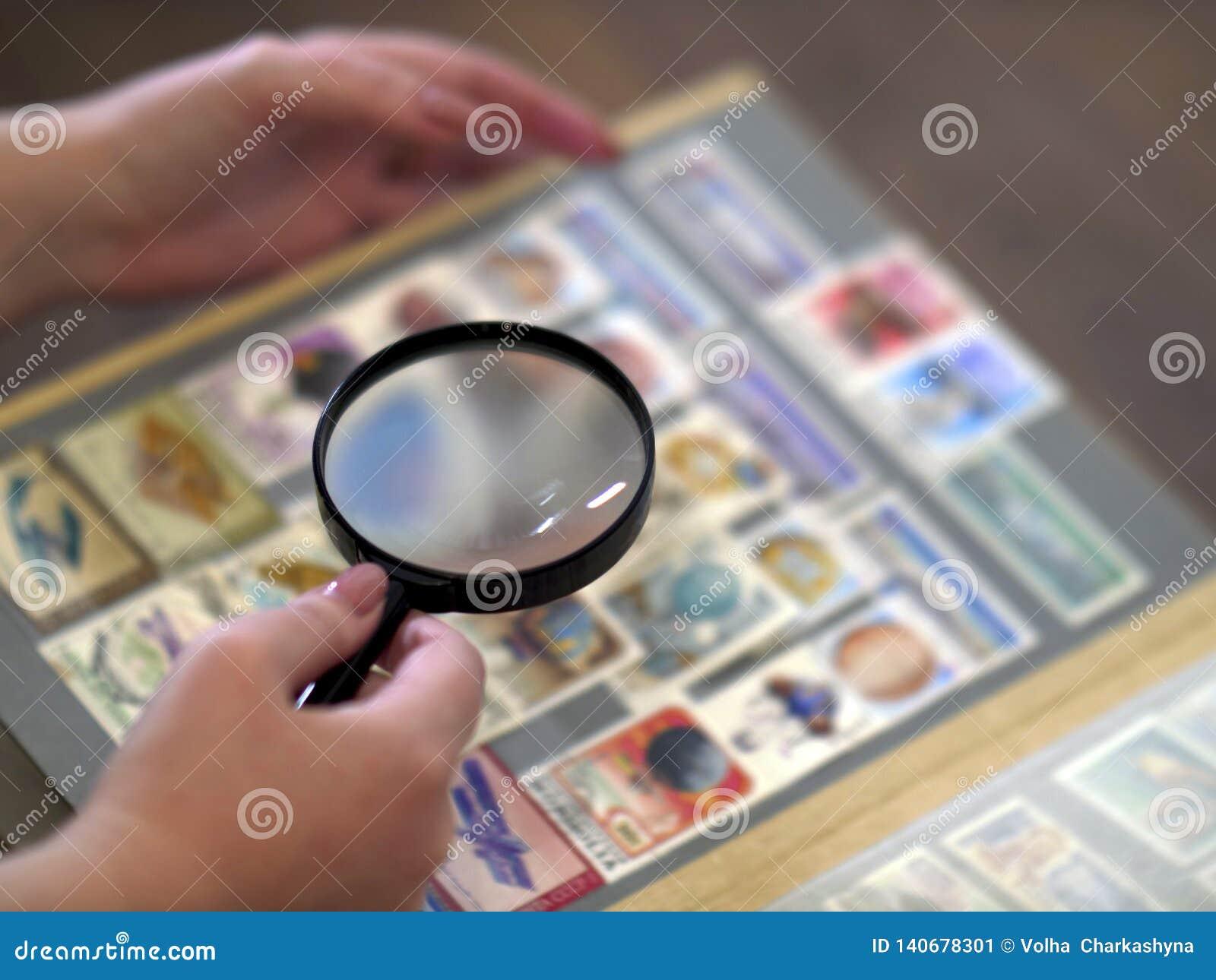 Η γυναίκα εξετάζει μέσω σημαδιών των πιό magnifier λευκωμάτων