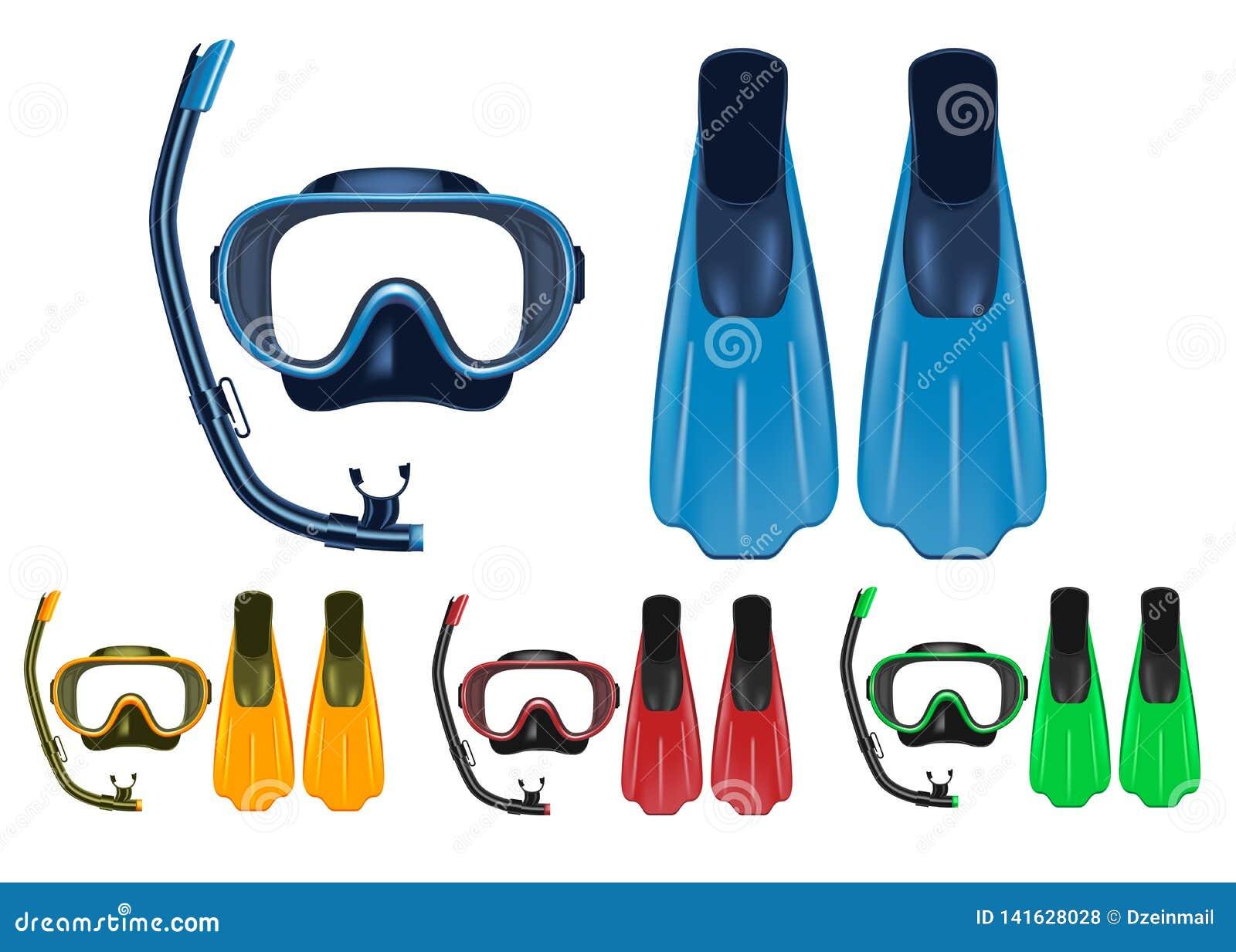 Η μάσκα, κολυμπούν με αναπνευτήρα και το τρισδιάστατο ρεαλιστικό σύνολο πτερυγίων με τα διαφορετικά χρώματα για τις δραστηριότητε