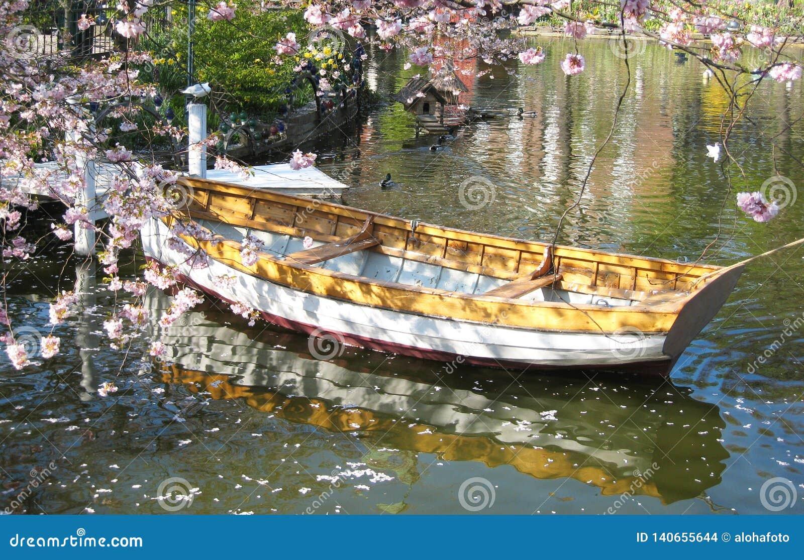 Η ρομαντική άποψη μιας ξύλινης βάρκας στην Κοπεγχάγη στη Δανία που περιβάλλεται θαλασσίως †‹â€ ‹ανθίζει σε μια μικρή λίμνη