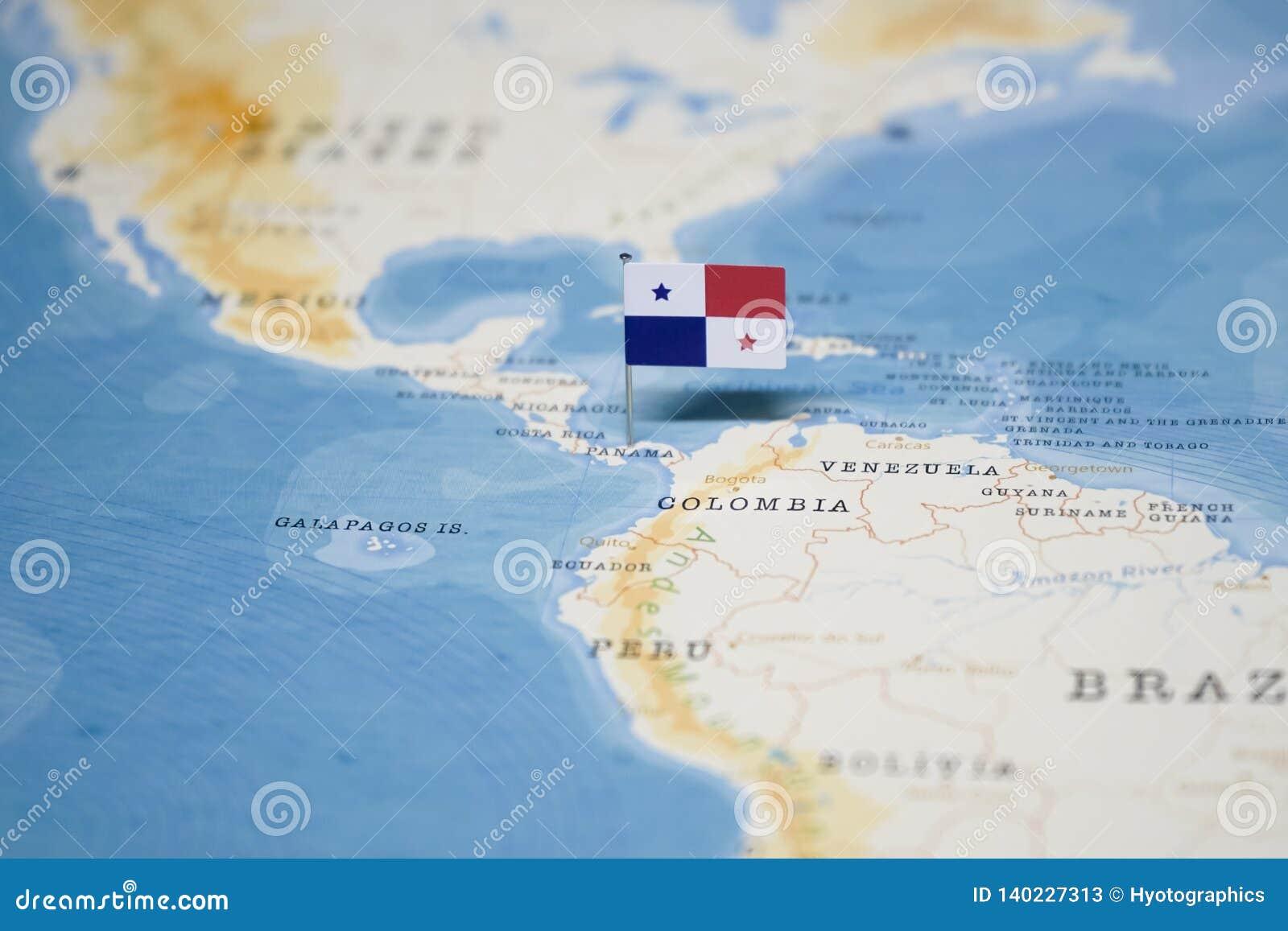 Η σημαία του Παναμά στον παγκόσμιο χάρτη